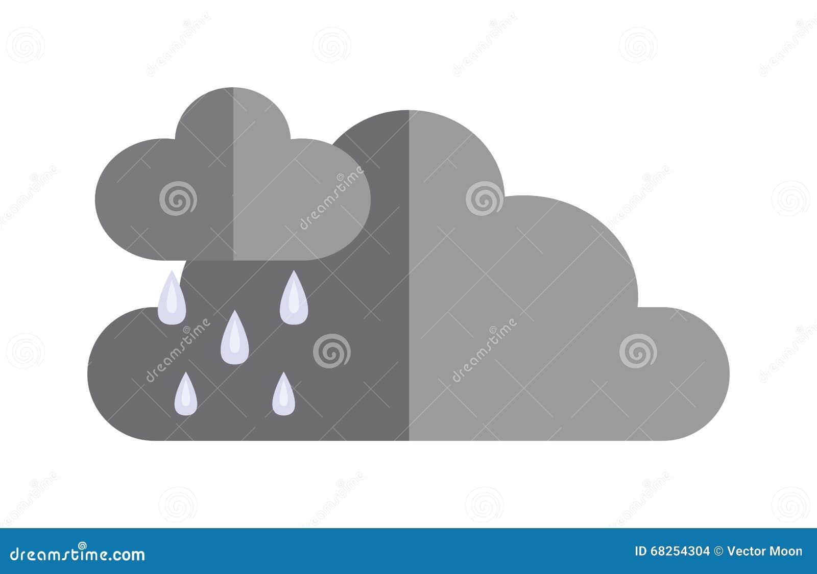 As nuvens de tempestade escuras antes do ícone liso do cloudscape dramático da chuva vector a ilustração