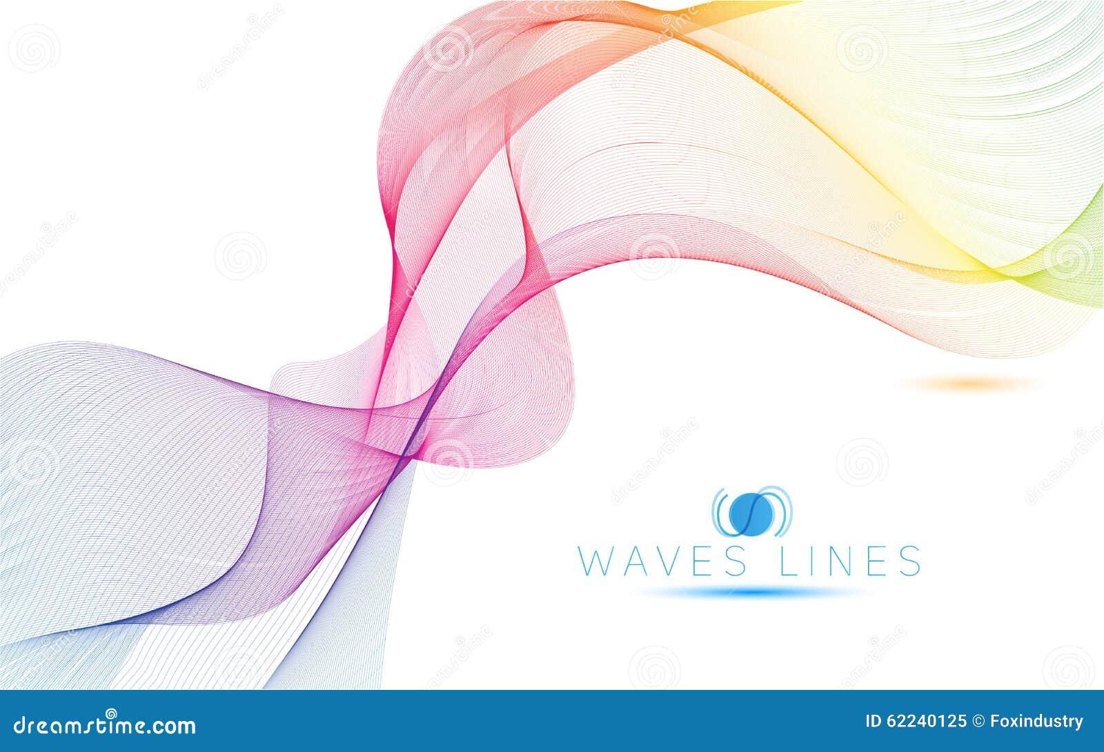 As ondas claras coloridas alinham a ilustração abstrata brilhante do teste padrão