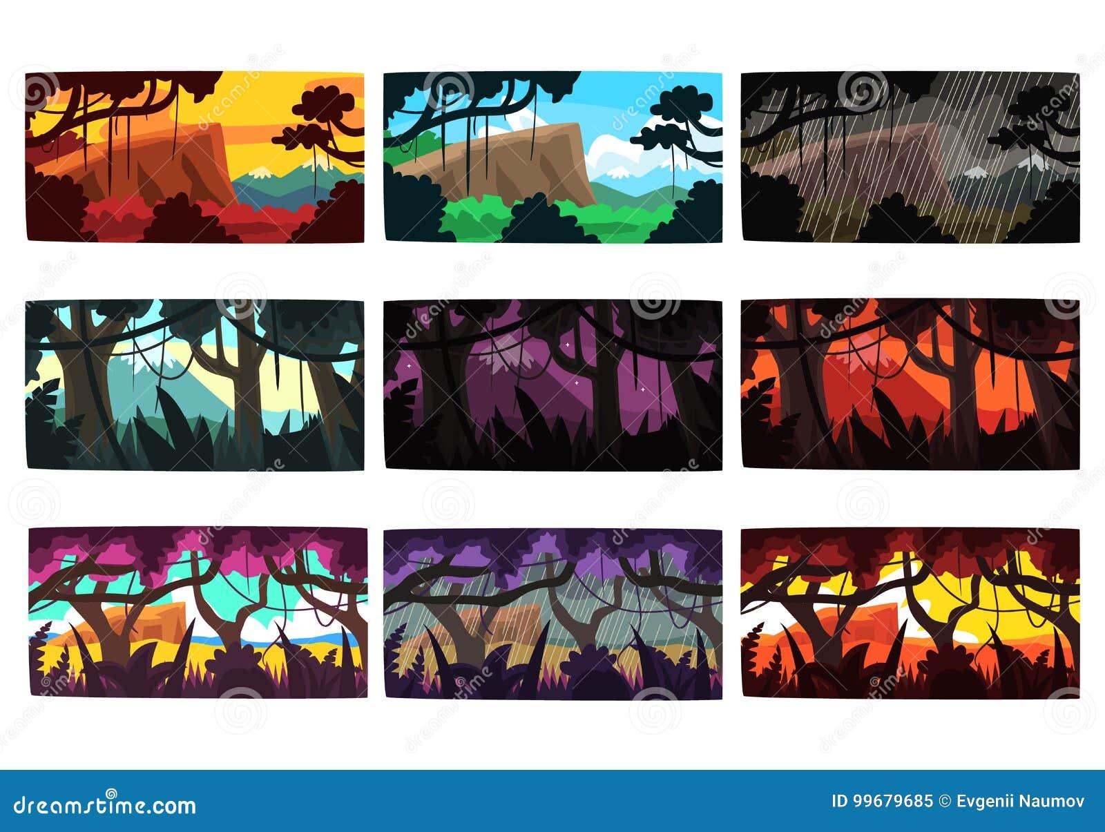 As paisagens tropicais da selva ajustaram-se em cores e em horas do dia diferentes diferentes