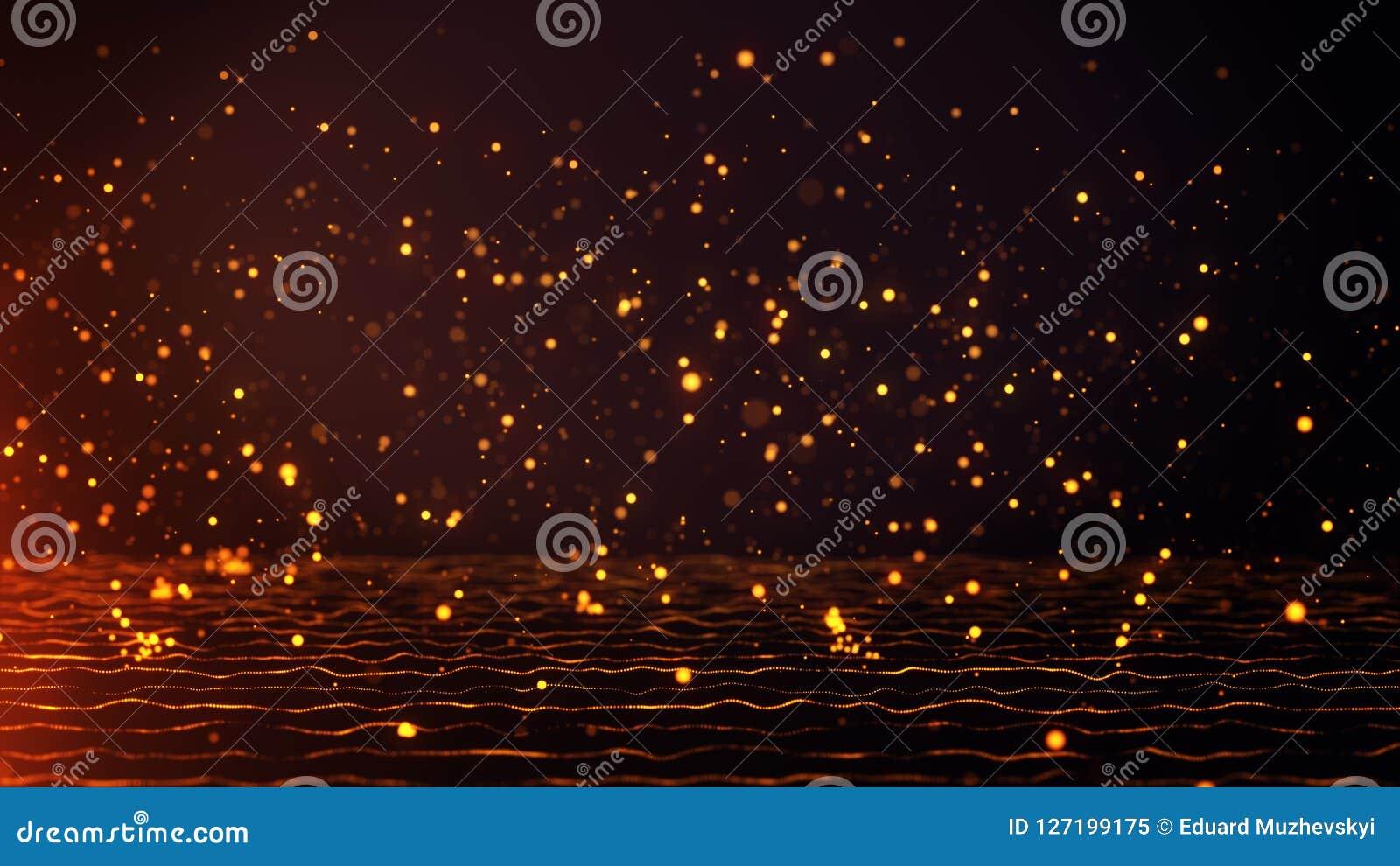 As partículas douradas de queda saltam na obscuridade - fundo alaranjado