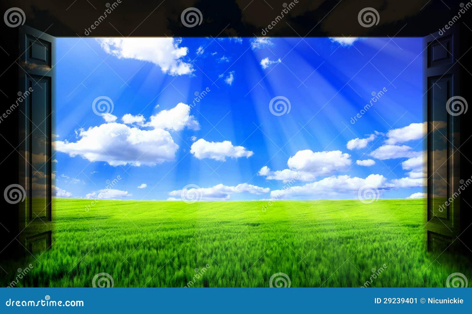 Download As portas abrem imagem de stock. Imagem de home, verde - 29239401