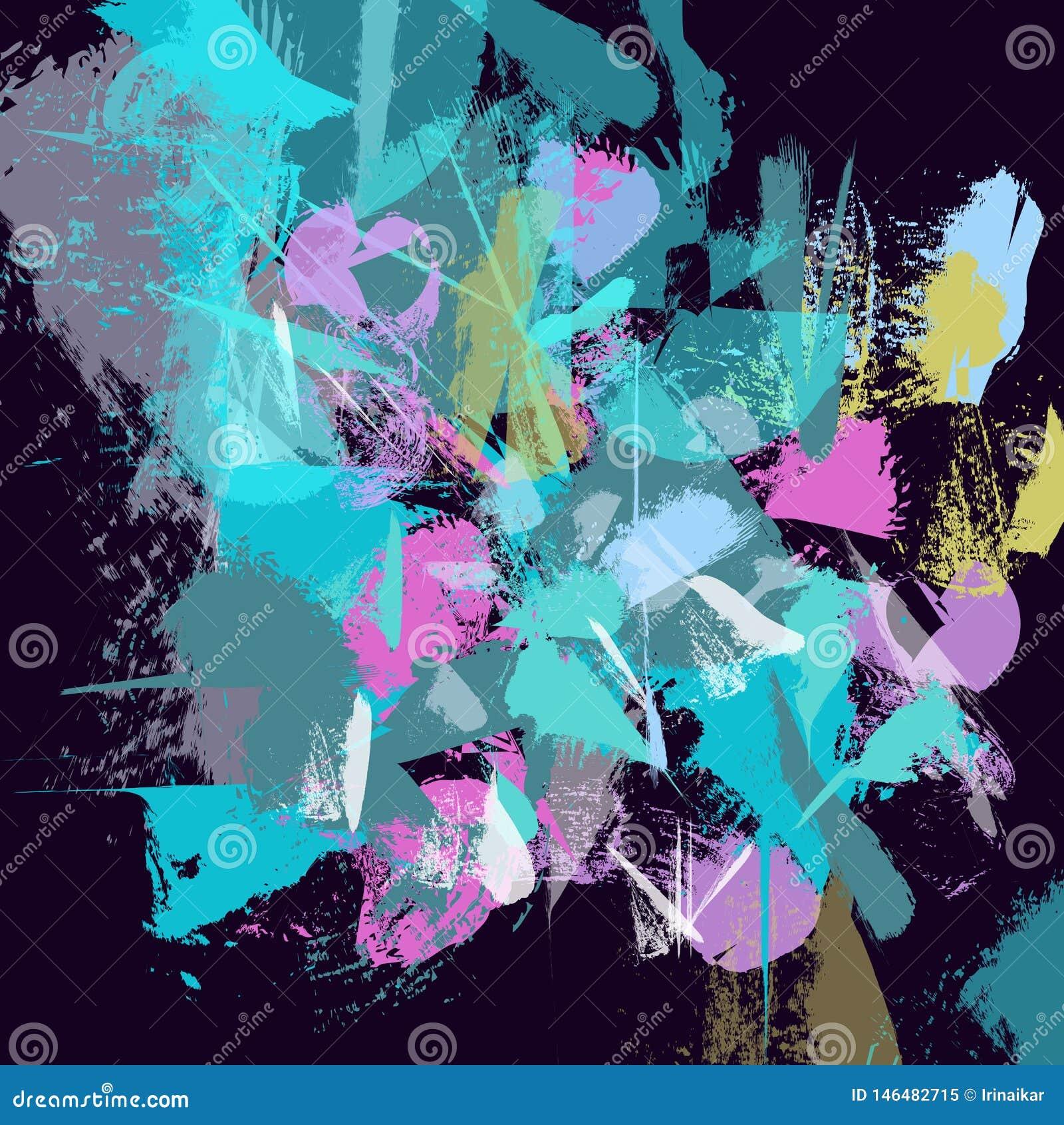 As raias azuis textured tiradas mão, cursos, espirram e pontos