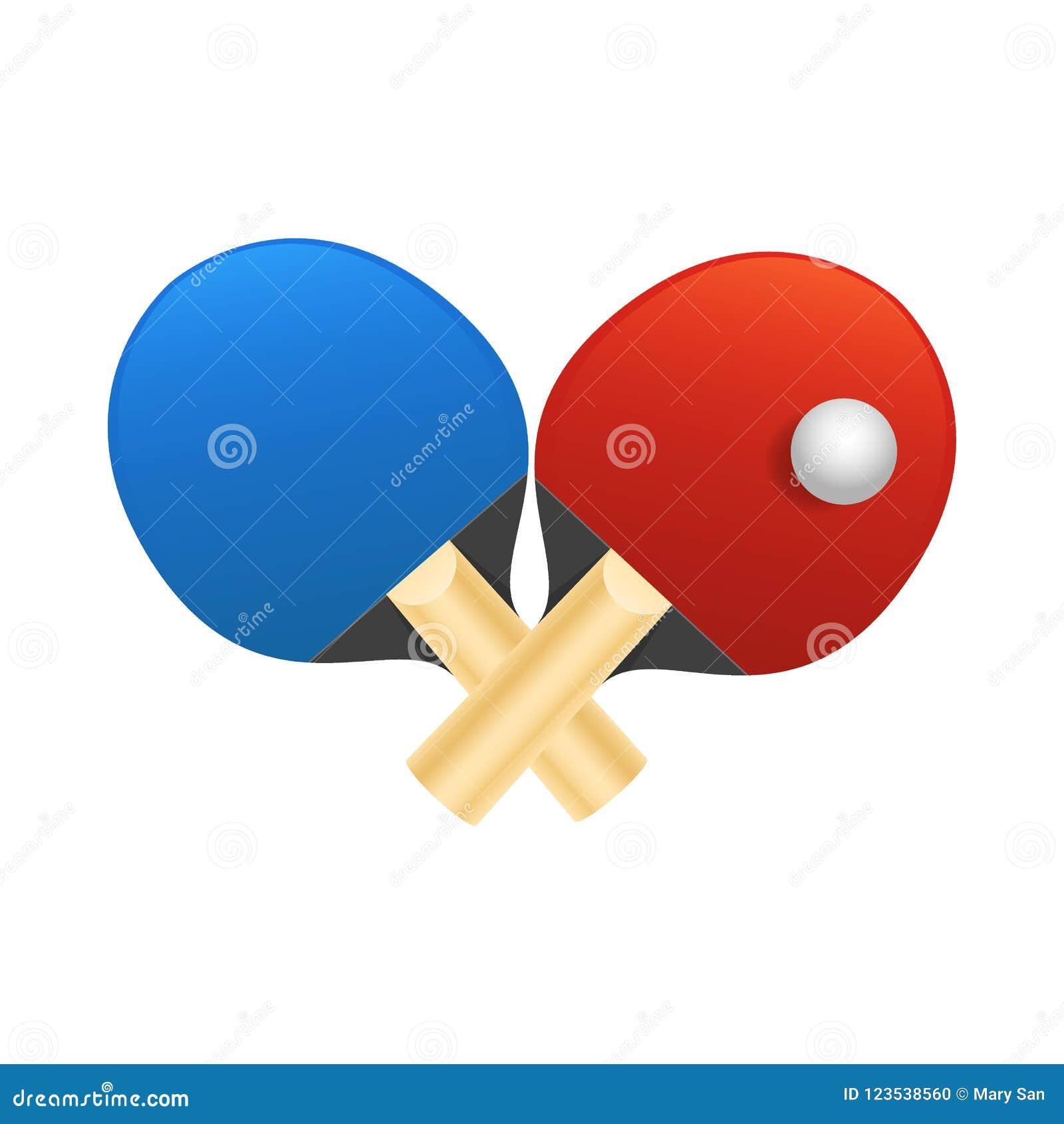 350991ad4 As raquetes de tênis de mesa com bola vector a ilustração no fundo branco