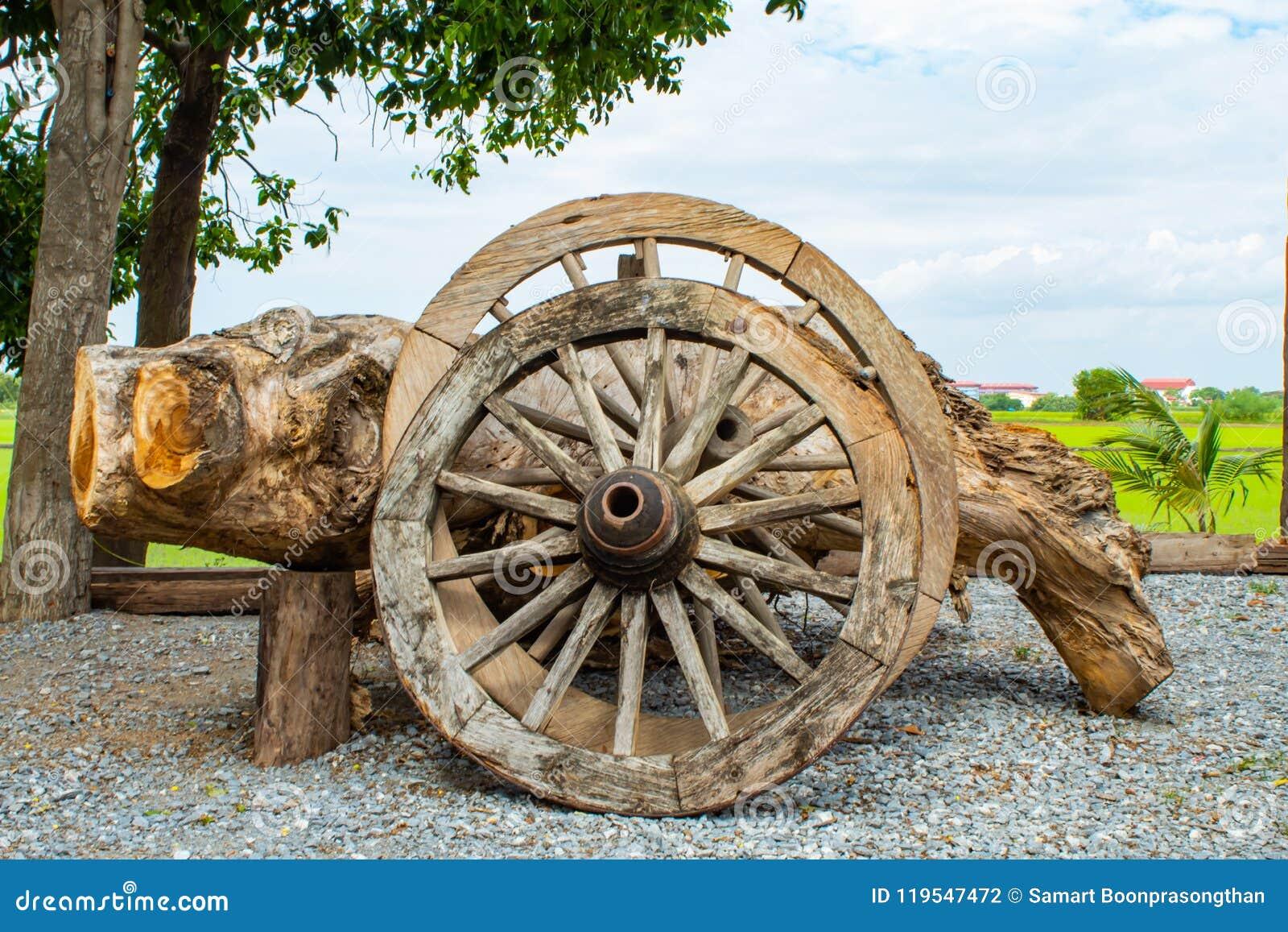 As rodas de vagão de madeira velhas