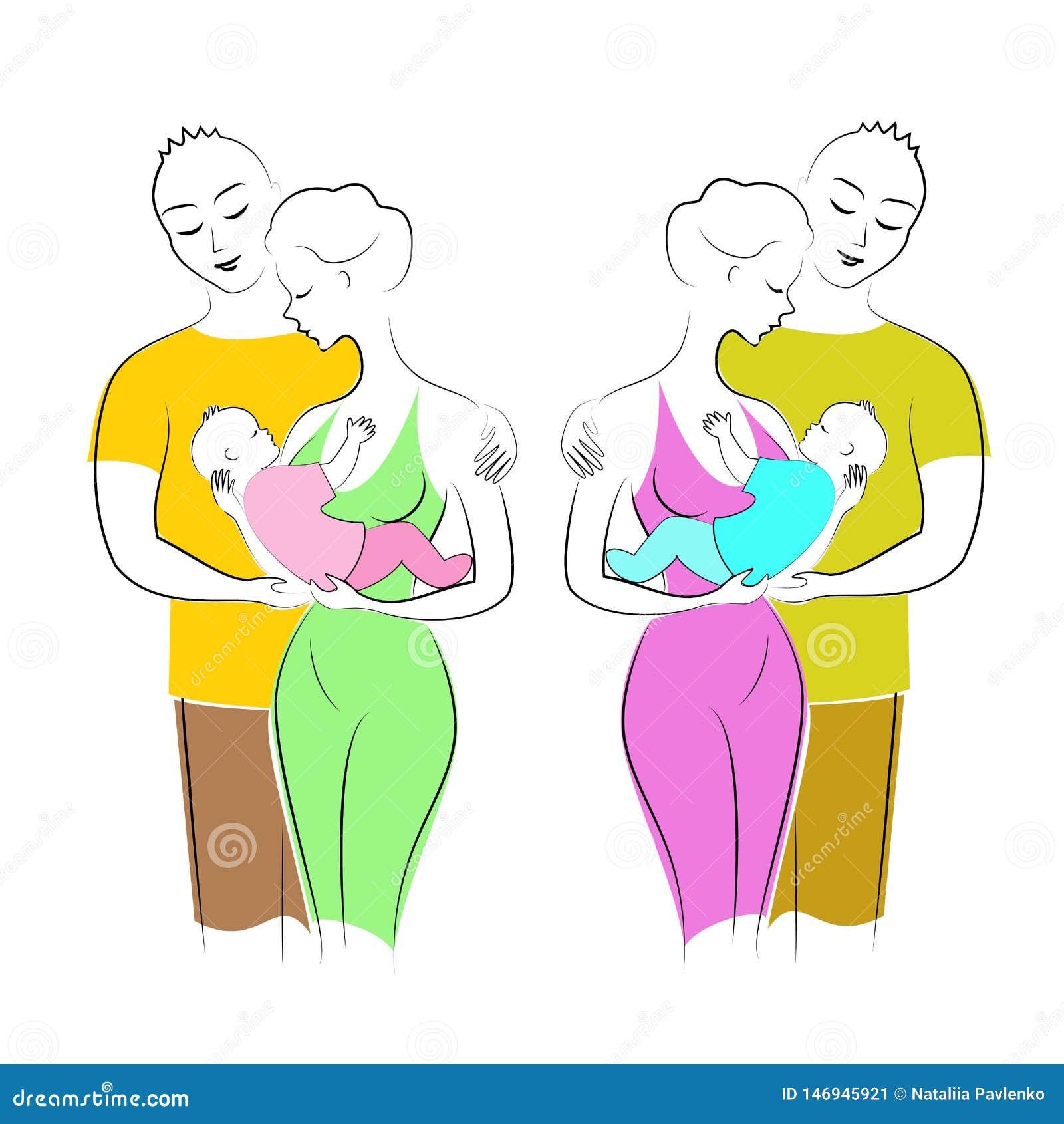As senhoras bonitas guardam um rapaz pequeno e uma menina em seus braços Os homens abraçam mulheres Pai, m?e e crian?a Duas famíl