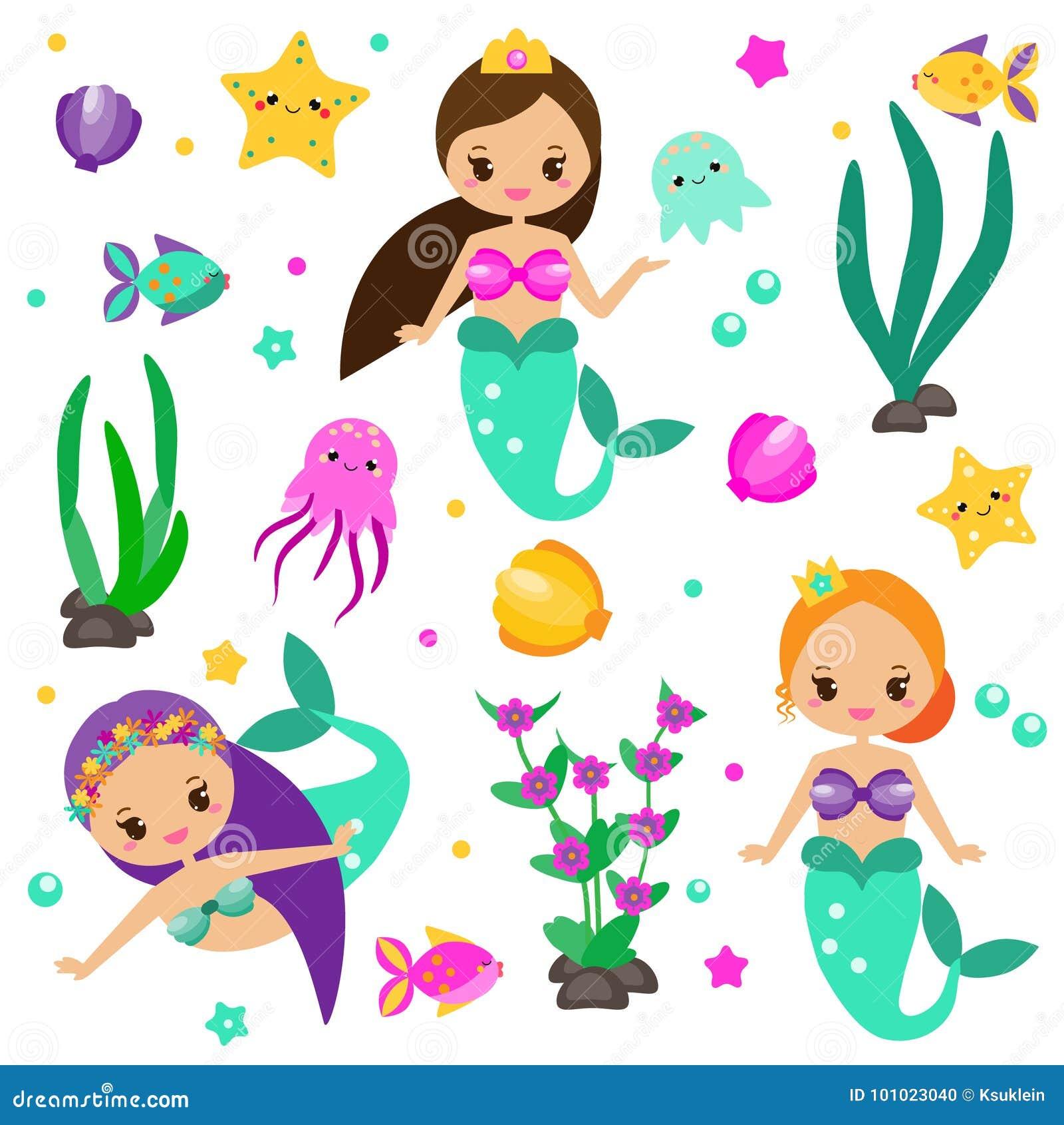 As sereias bonitos ajustam e projetam elementos Etiquetas, clipart para meninas no estilo do kawaii Alga, polvo, peixes e outros