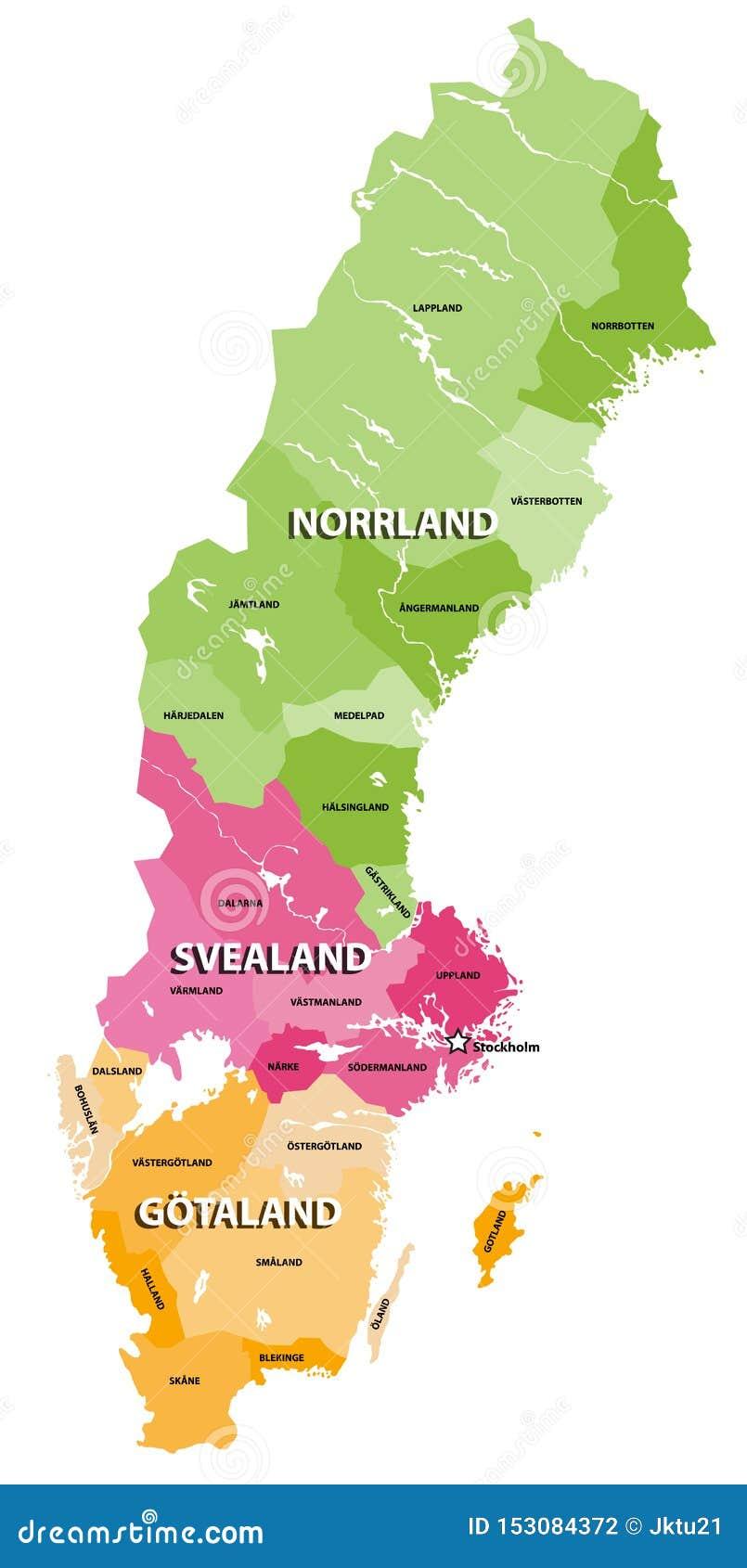 As terras do mapa do vetor da Suécia Três porções tradicionais da Suécia cada um províncias consistindo