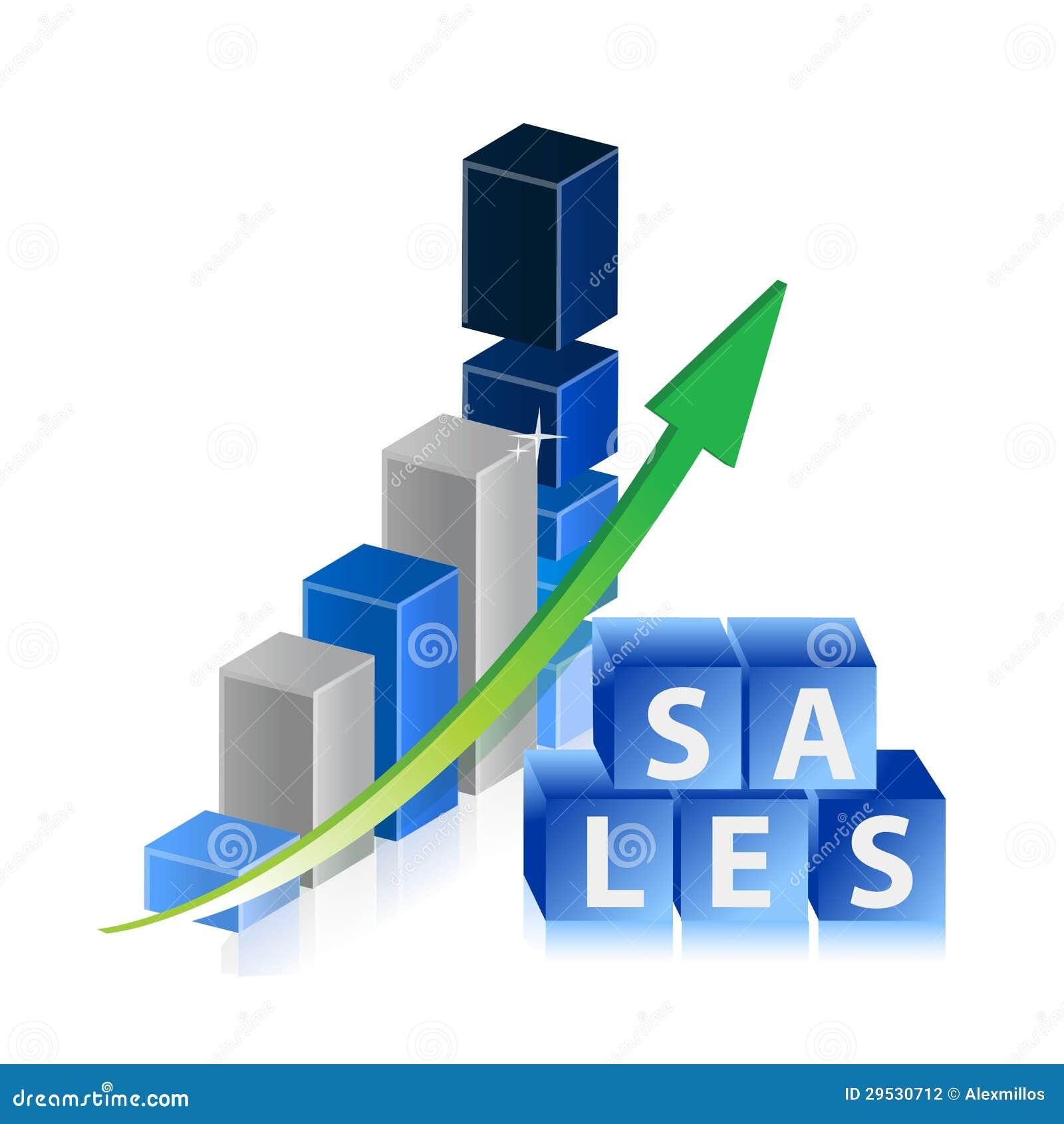 As vendas levantam o gráfico de negócio com seta e cubos