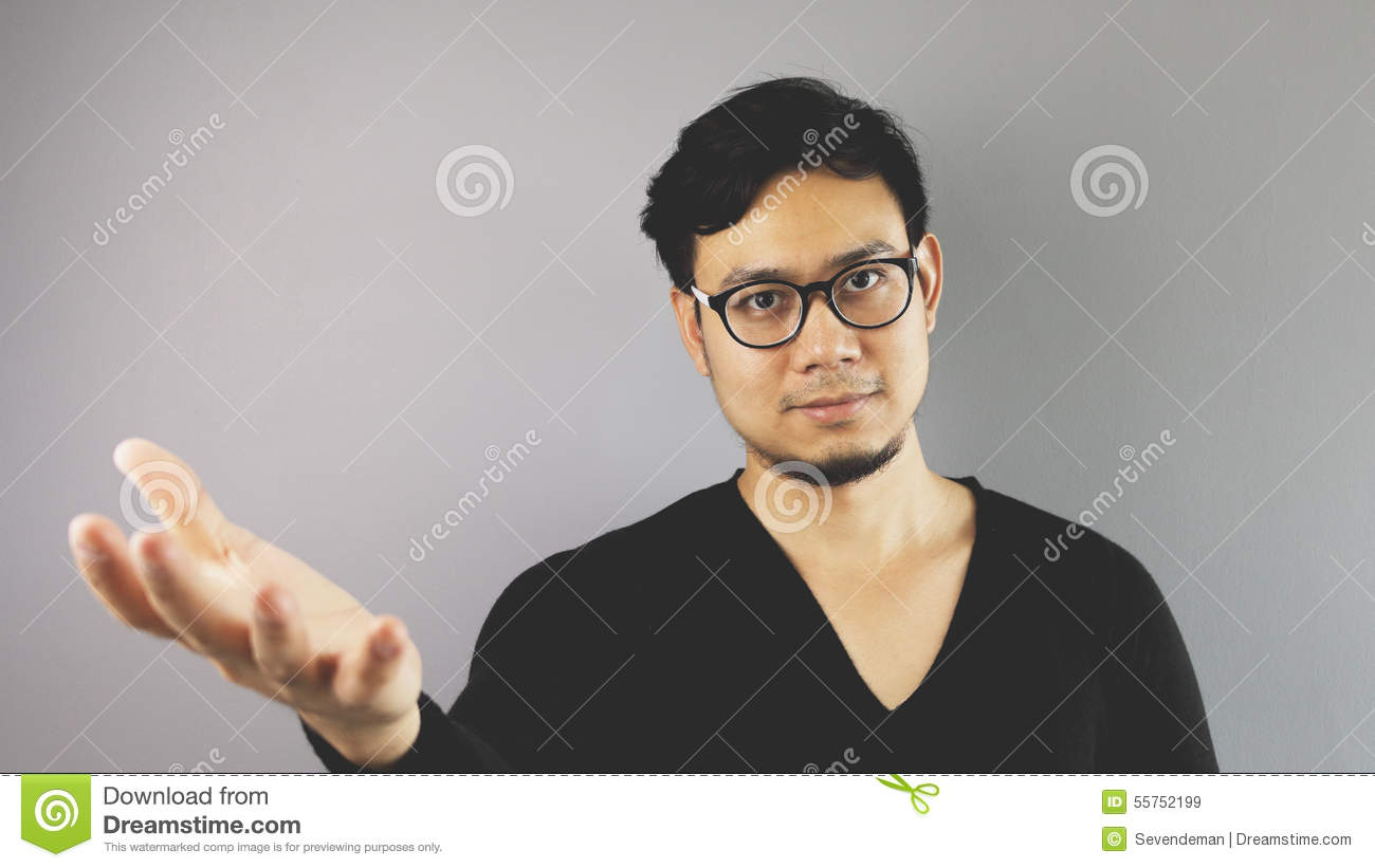 Asain man with grey background