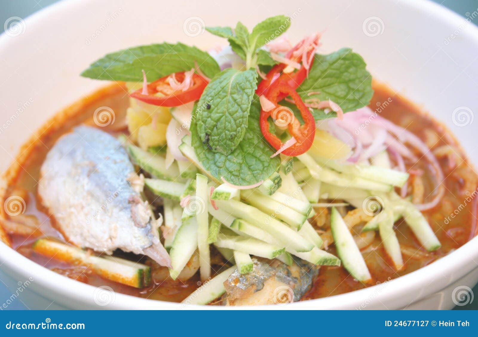 Asam Laksa Noodle Kampung Fish Or Penang Laksa Royalty Free Stock