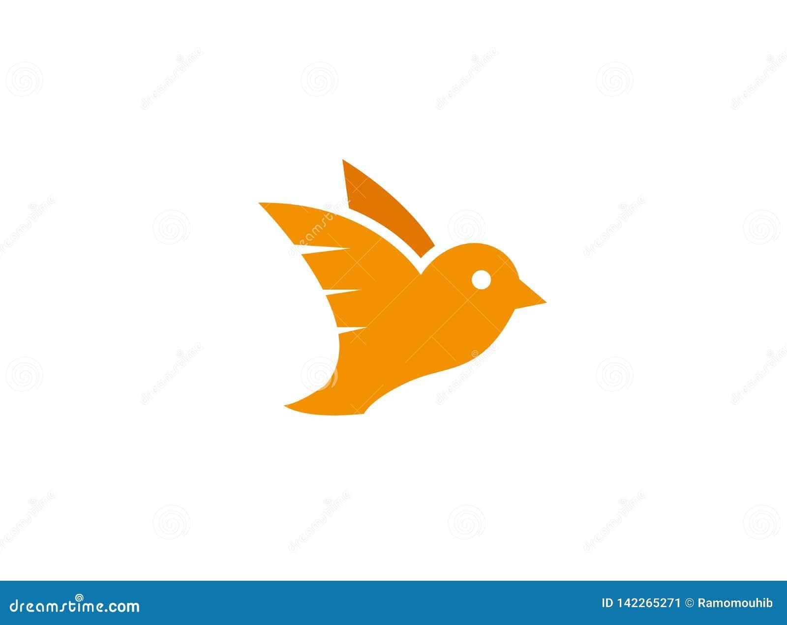 Asas abertas do pássaro alaranjado da pomba e para voar para o logotipo