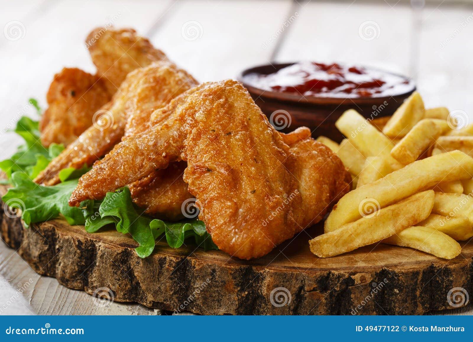 Asas de galinha fritada