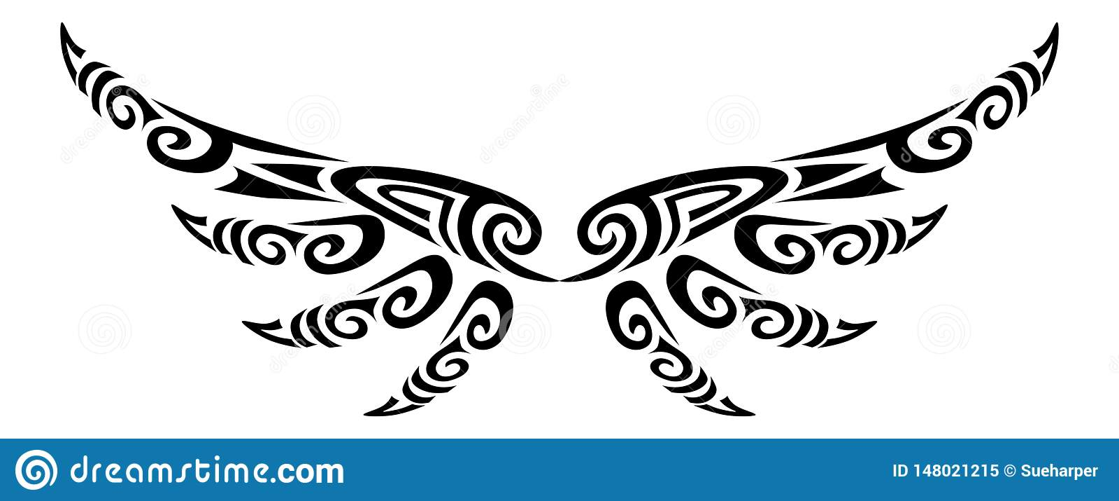Asas do anjo que voam o projeto maori estilizado tribal do koru da tatuagem