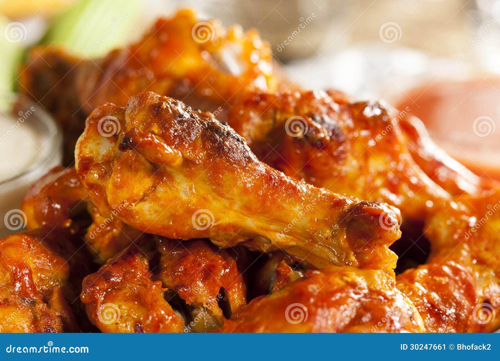 Asas quentes e de Spicey do búfalo de galinha