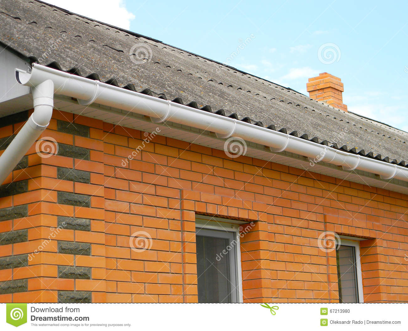 Asbestos Roof With Plastic Rain Gutter Stock Photo Image