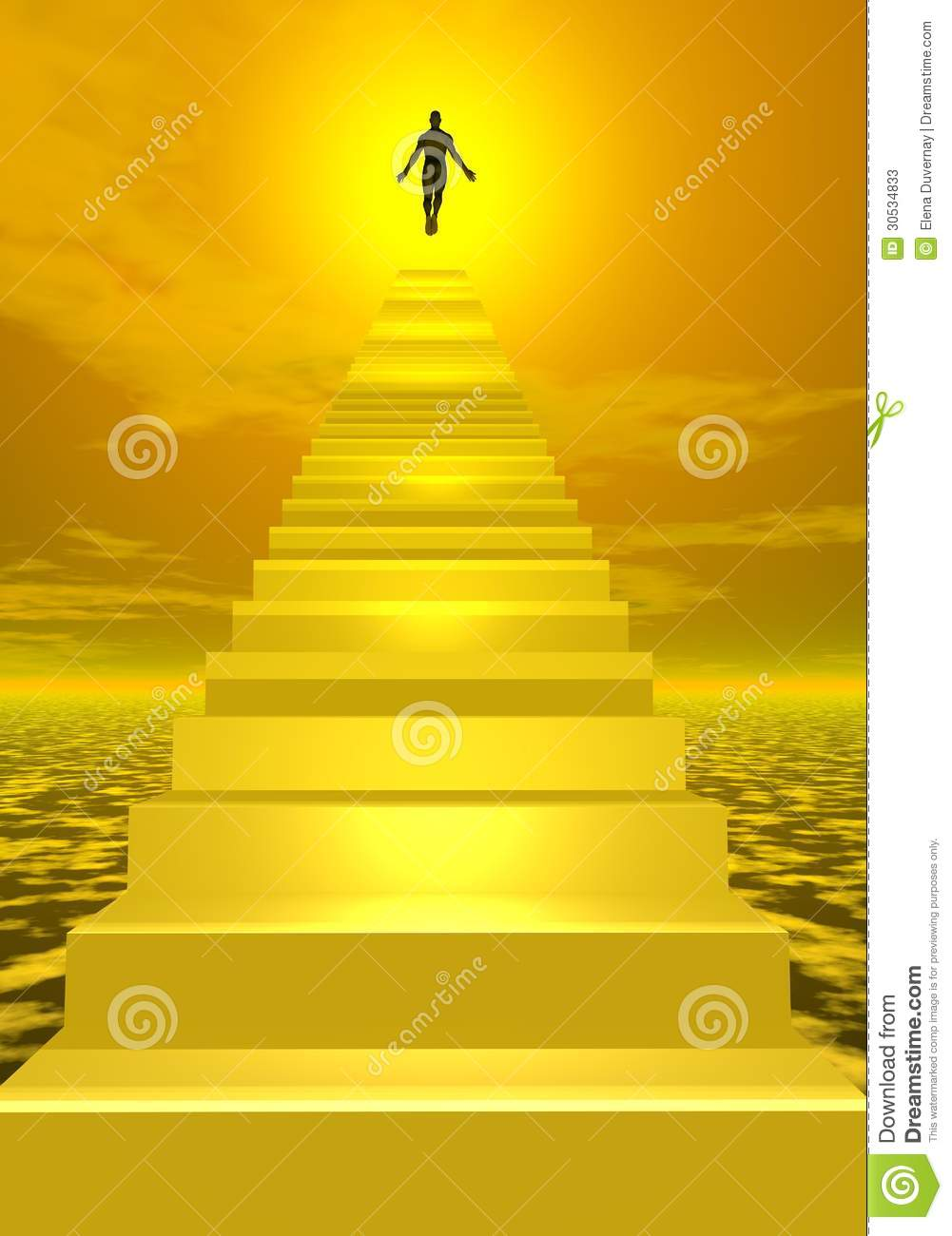 Shadow of a man ascending to sunny heaven after having walked the ...