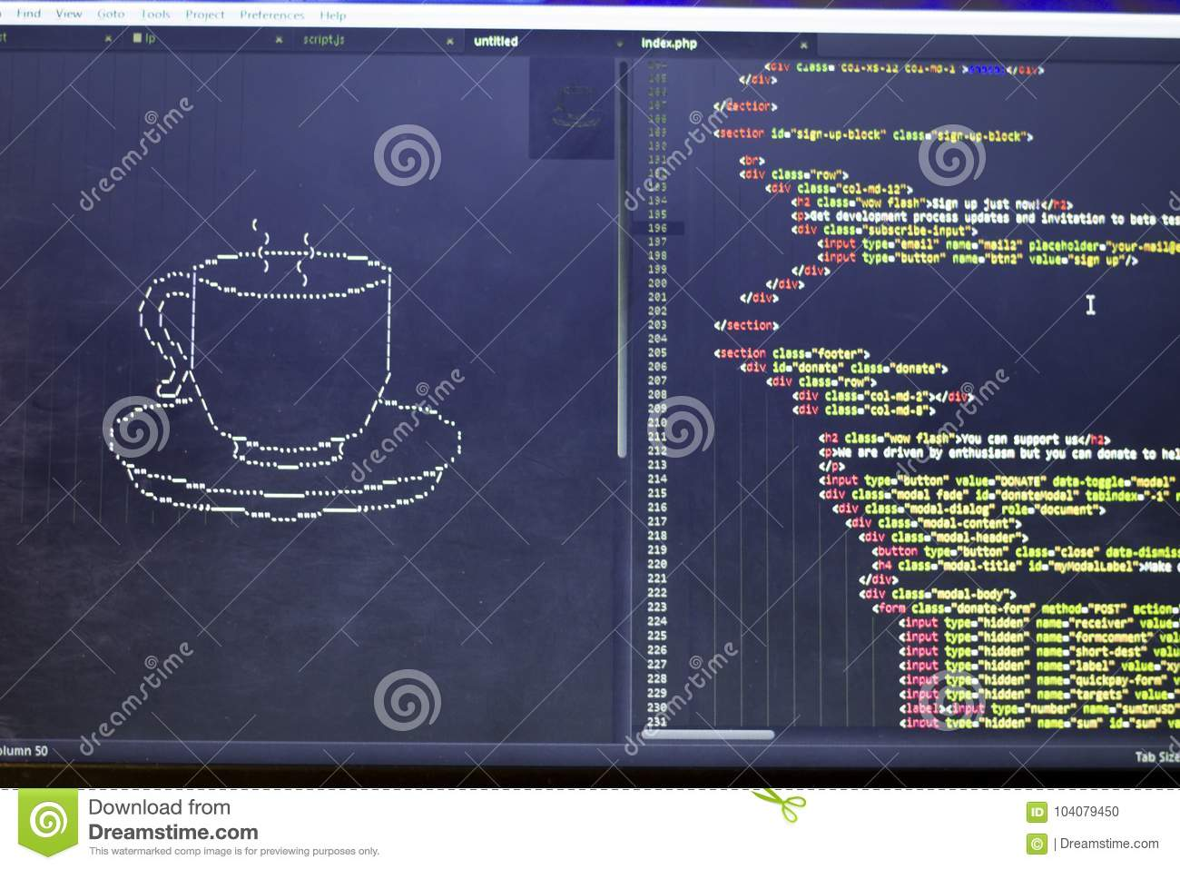 Ascii Art Of Drink Cup And Html Code Aside Editorial Image Image