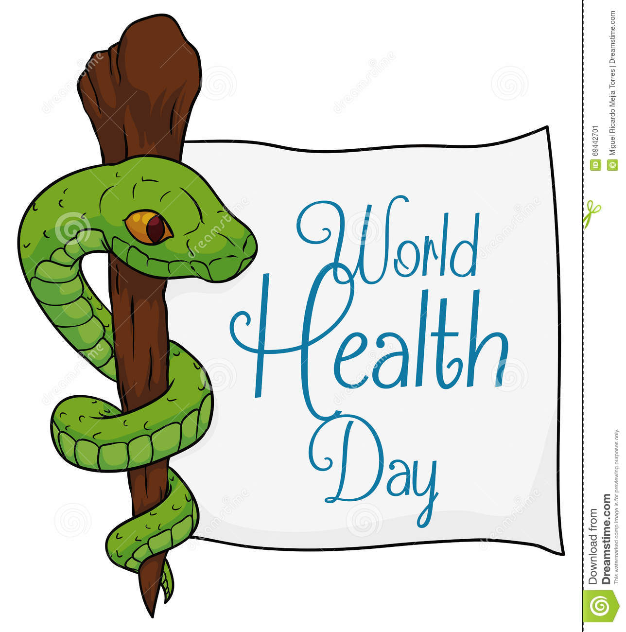 Asclepius Symbol With A Paper For World Health Day, Vector ...