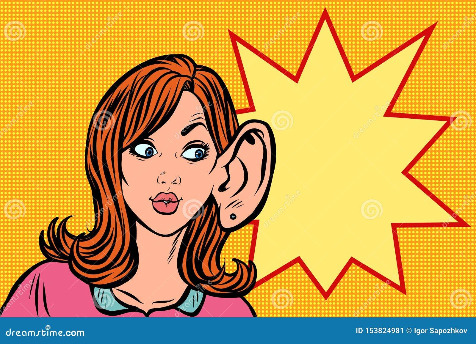 Ascoltare di nascosto della donna, segreti del gossip e voci