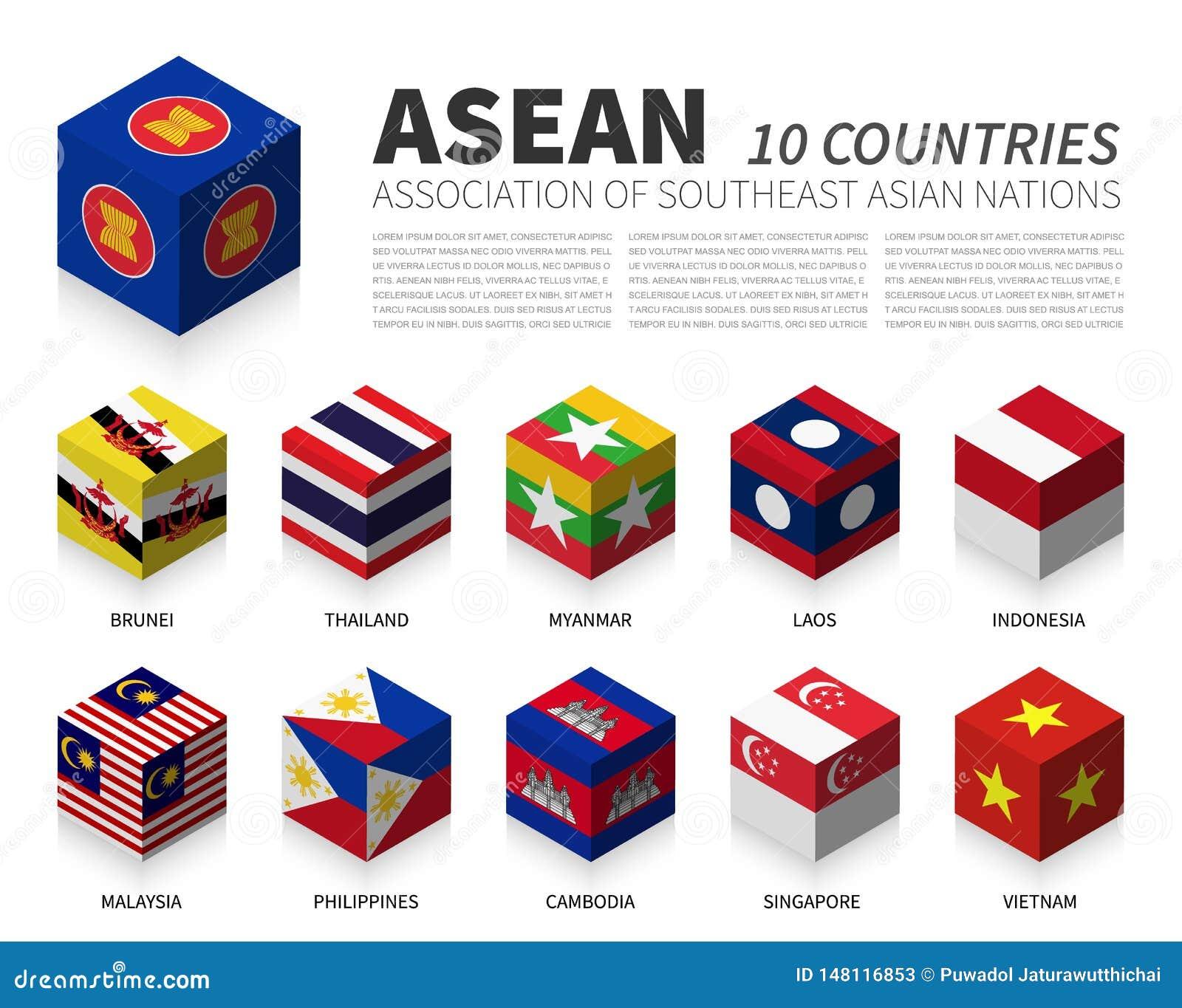ASEAN Association des nations et de l adhésion asiatiques du sud-est conception cubique du drapeau 3D Vecteur