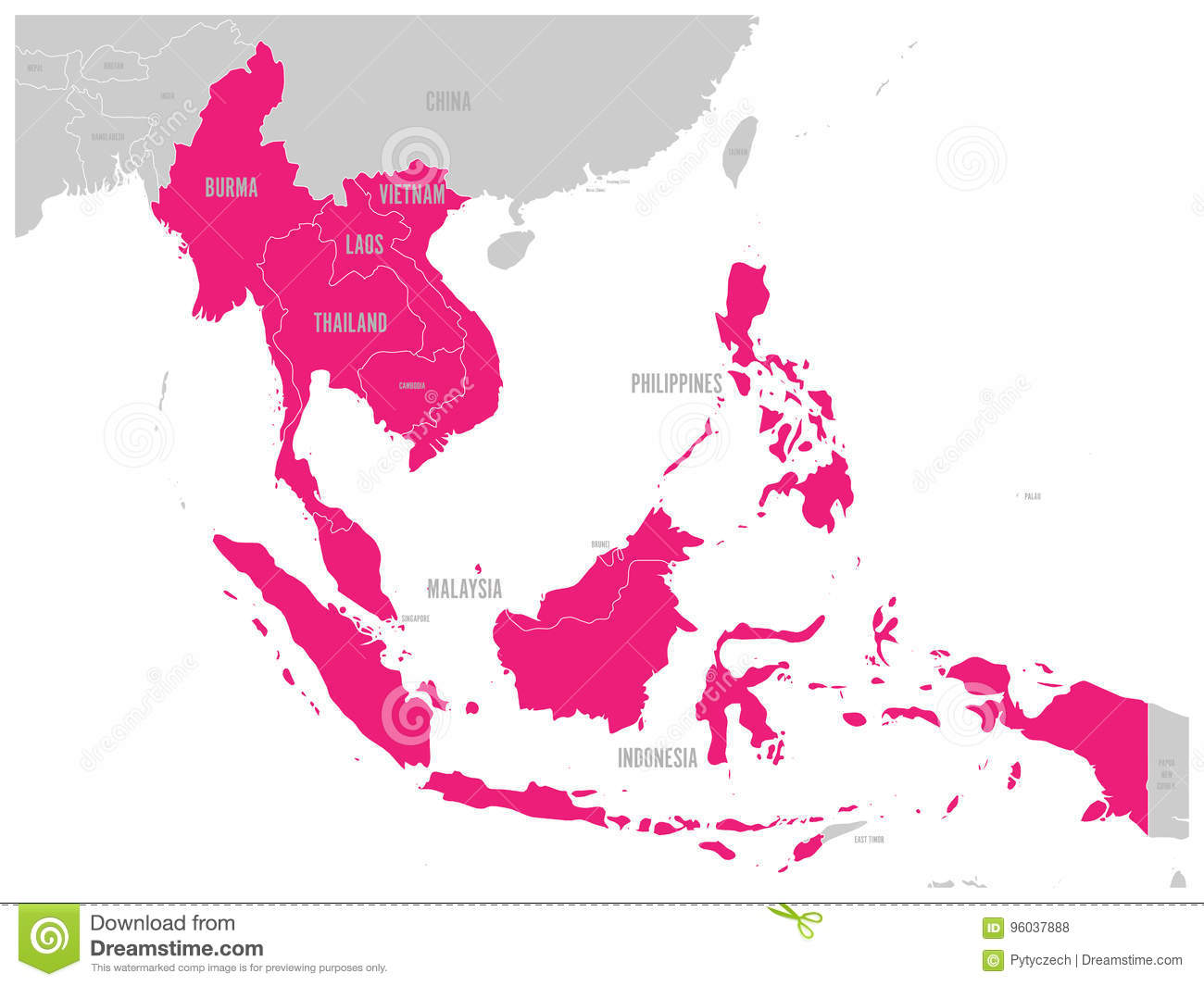 ASEAN Economic munity AEC Map Grey Map With Pink Highlighted