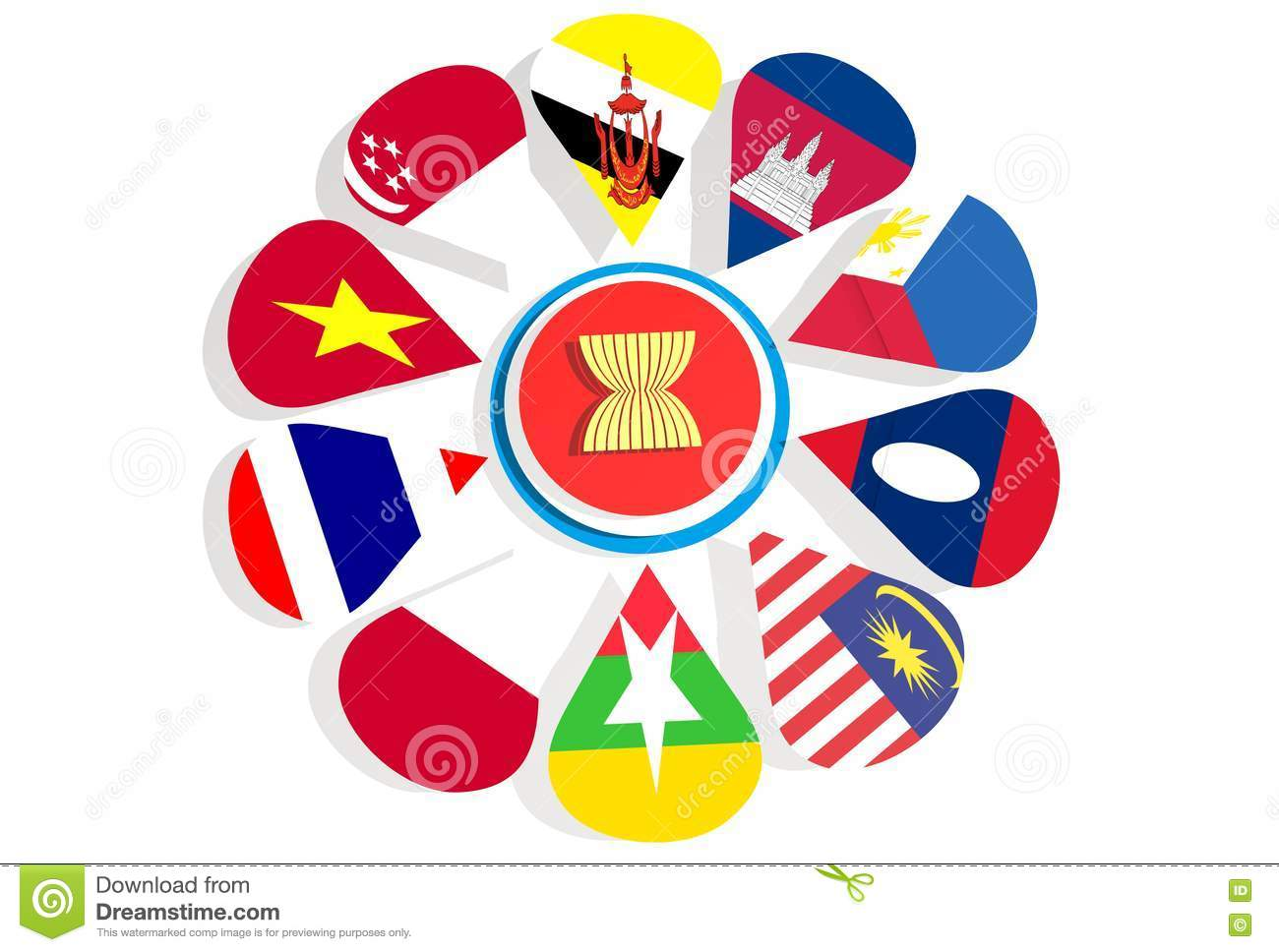 ASEAN - political and economic organization of ten Southeast Asian  countries. Union members flags