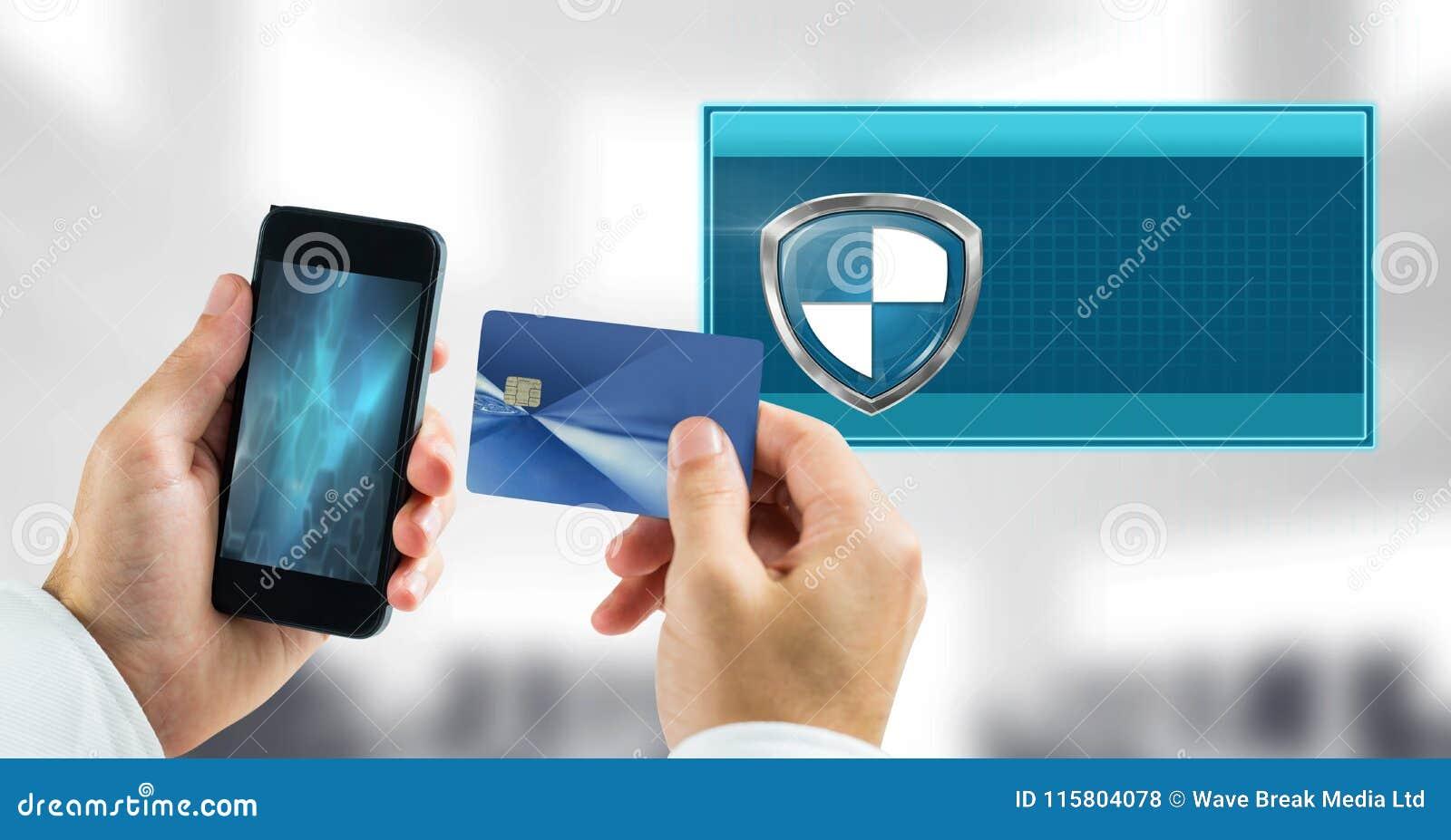 Asegure el icono y el teléfono del escudo de la transacción con la tarjeta de banco