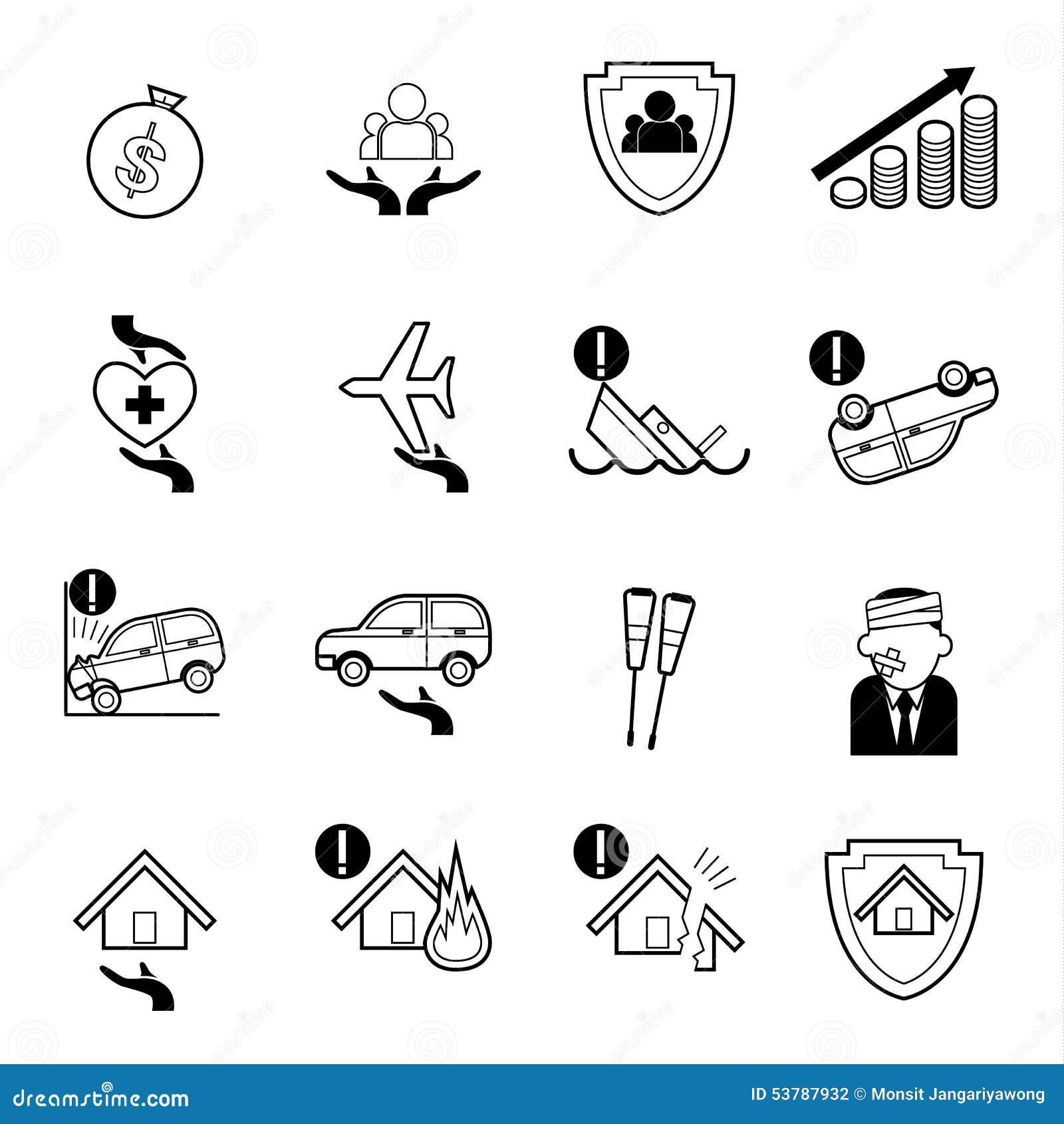 Asekuracyjne ikony ustawiająca wektorowa ilustracja
