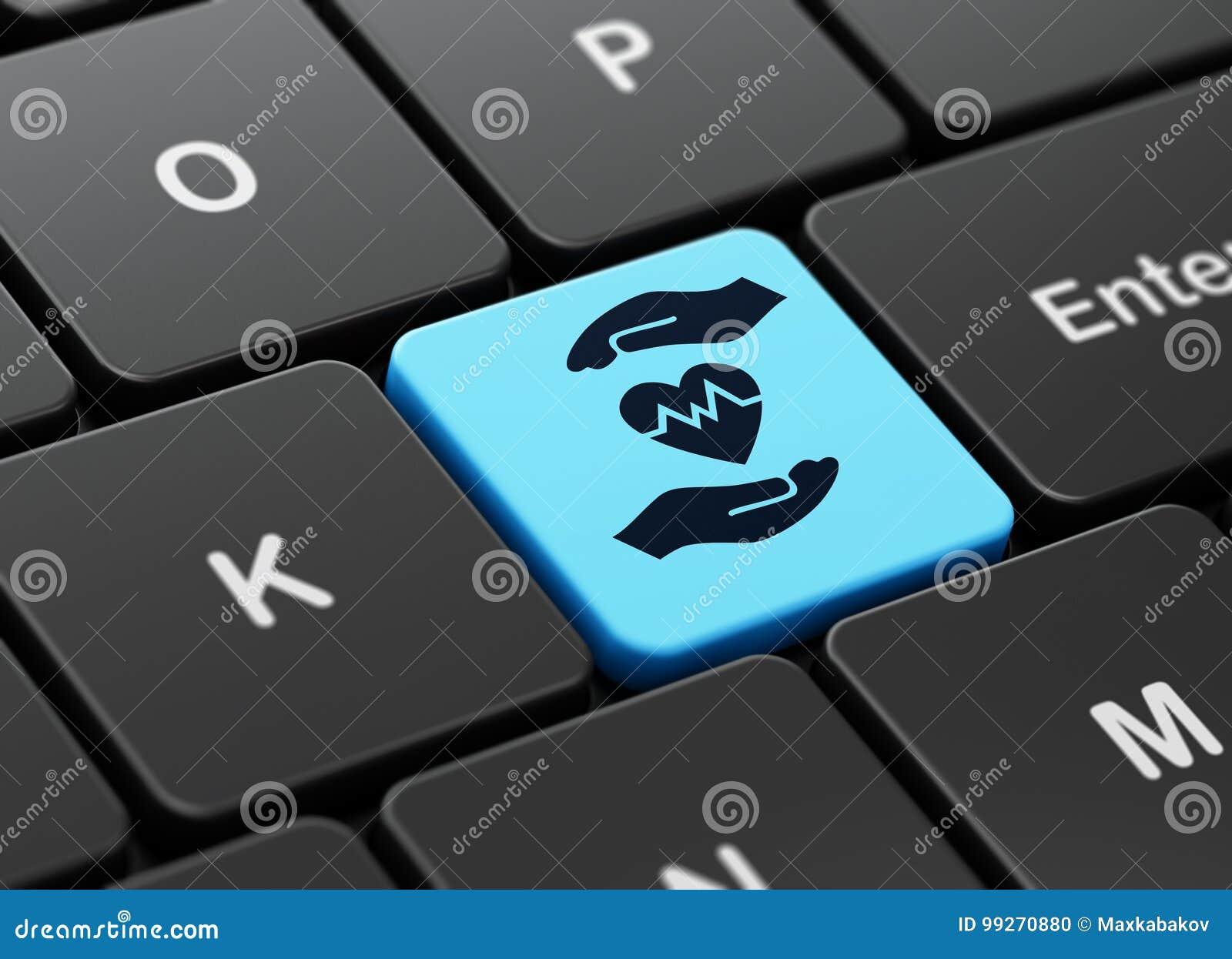 Asekuracyjny pojęcie: Serce I palma na komputerowej klawiatury tle