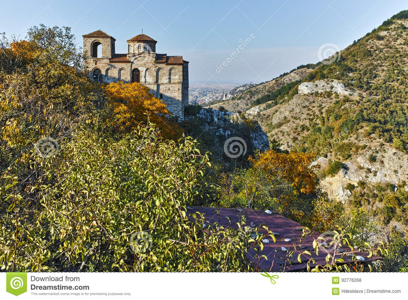 ASENOVGRAD, BULGARIA - 1 OCTOBER 2016: Autumn view of Asen`s Fortress, Asenovgrad, Bulgaria