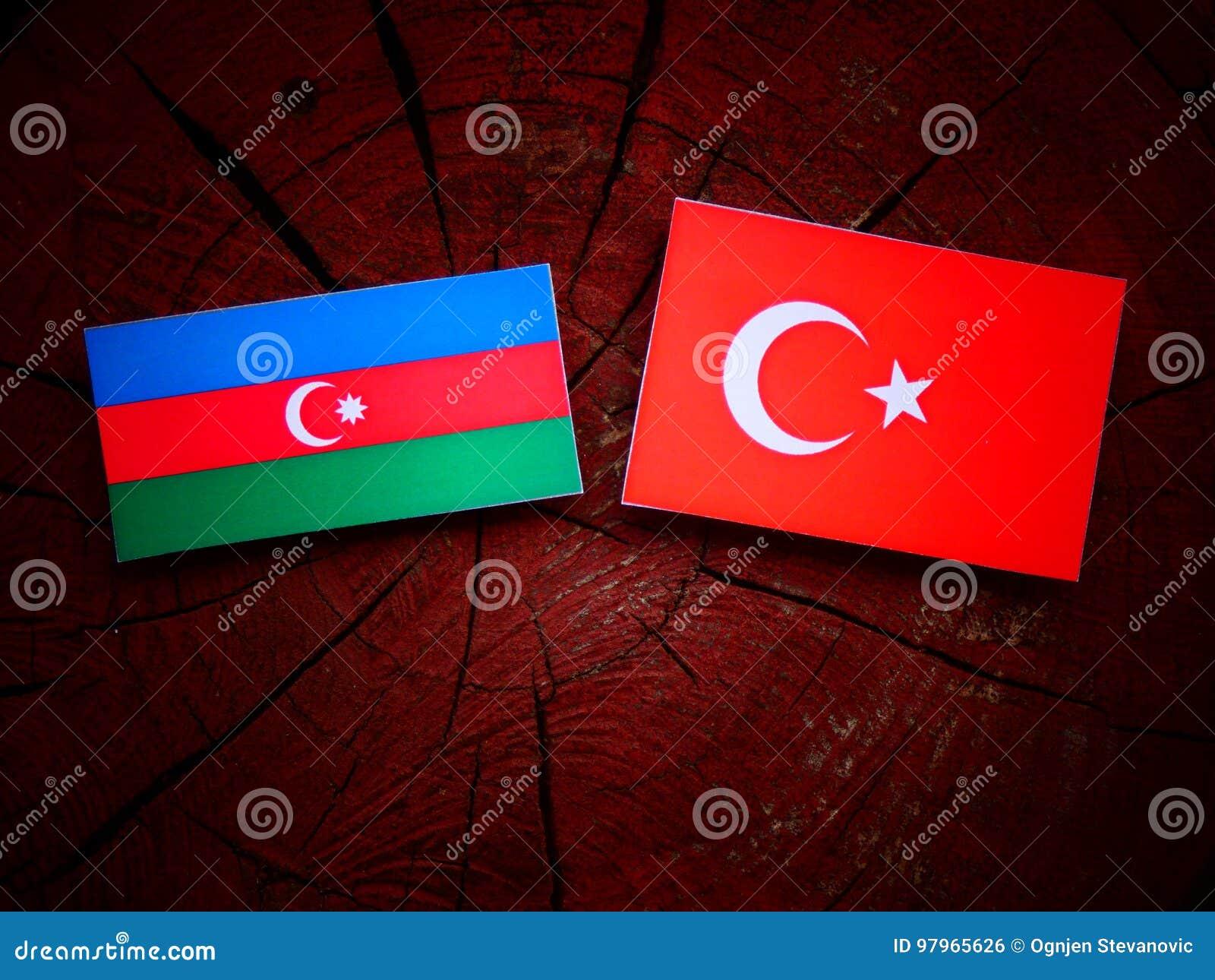 Aserbaidschan Flagge Mit Turkischer Flagge Auf Einem Baumstumpf Stockfoto Bild Von Turkischer Baumstumpf 97965626