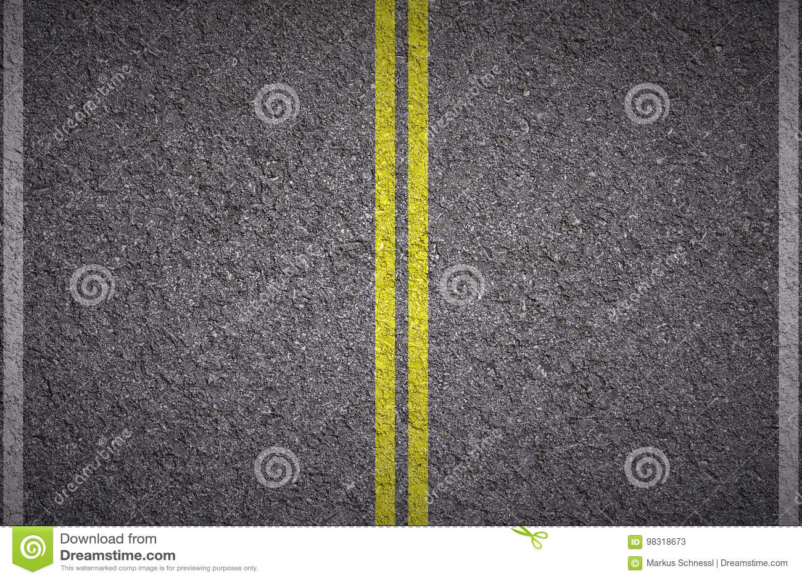 Asfalt - Gele en witte lijnen