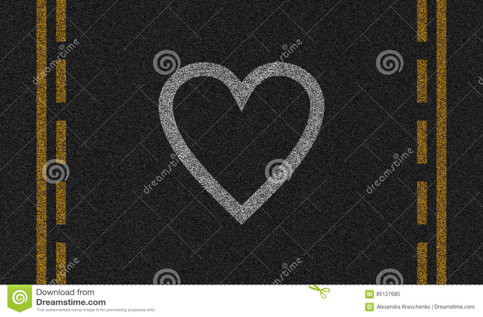 Asfaltachtergrond met geschilderd hart