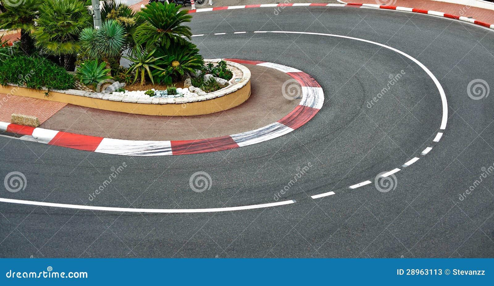 Asfalto viejo de la raza de la curva de la horquilla de la estación, circuito de Mónaco Grand Prix