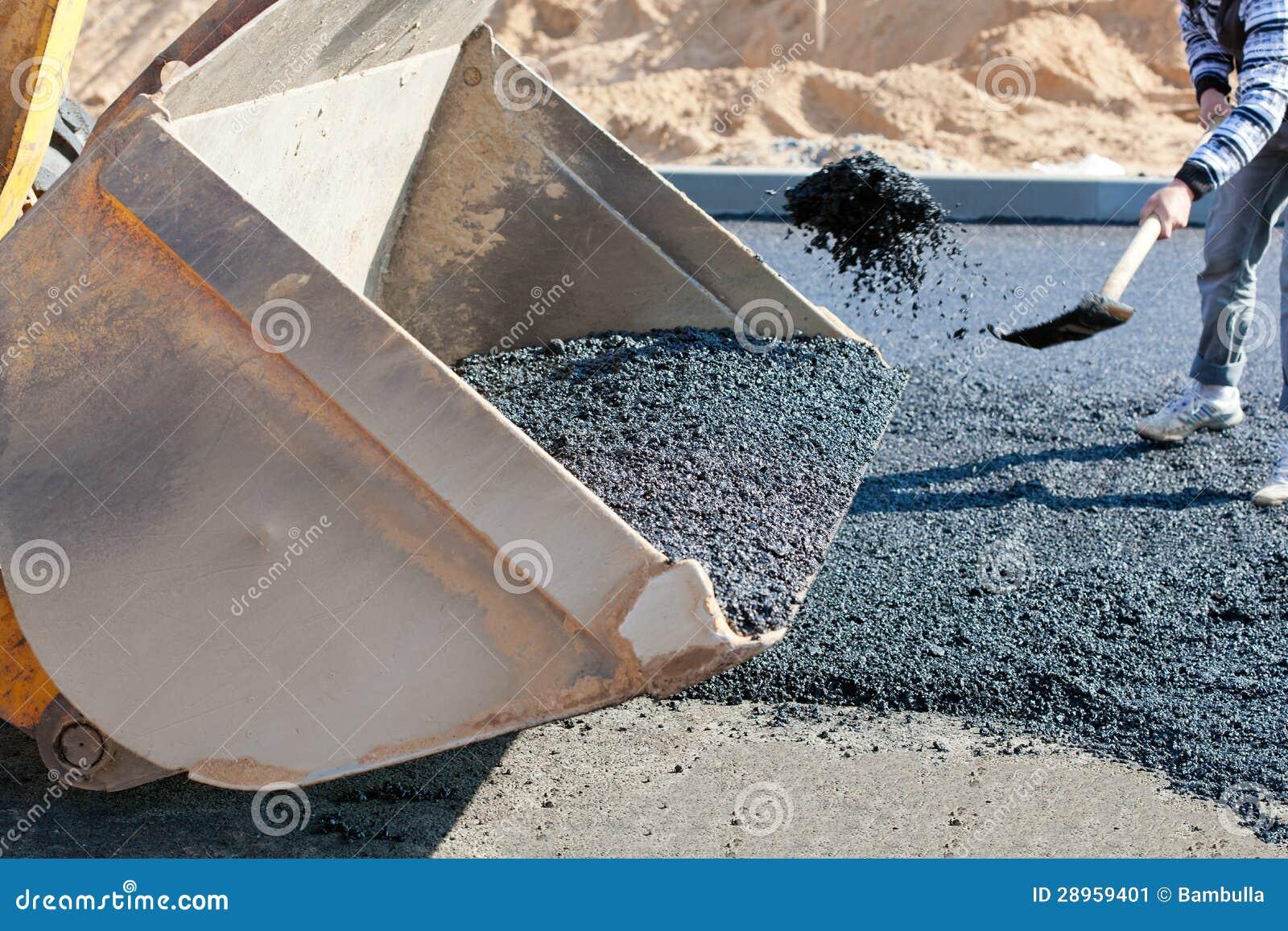 Asfaltowa brukowa budowa podczas drogowych prac