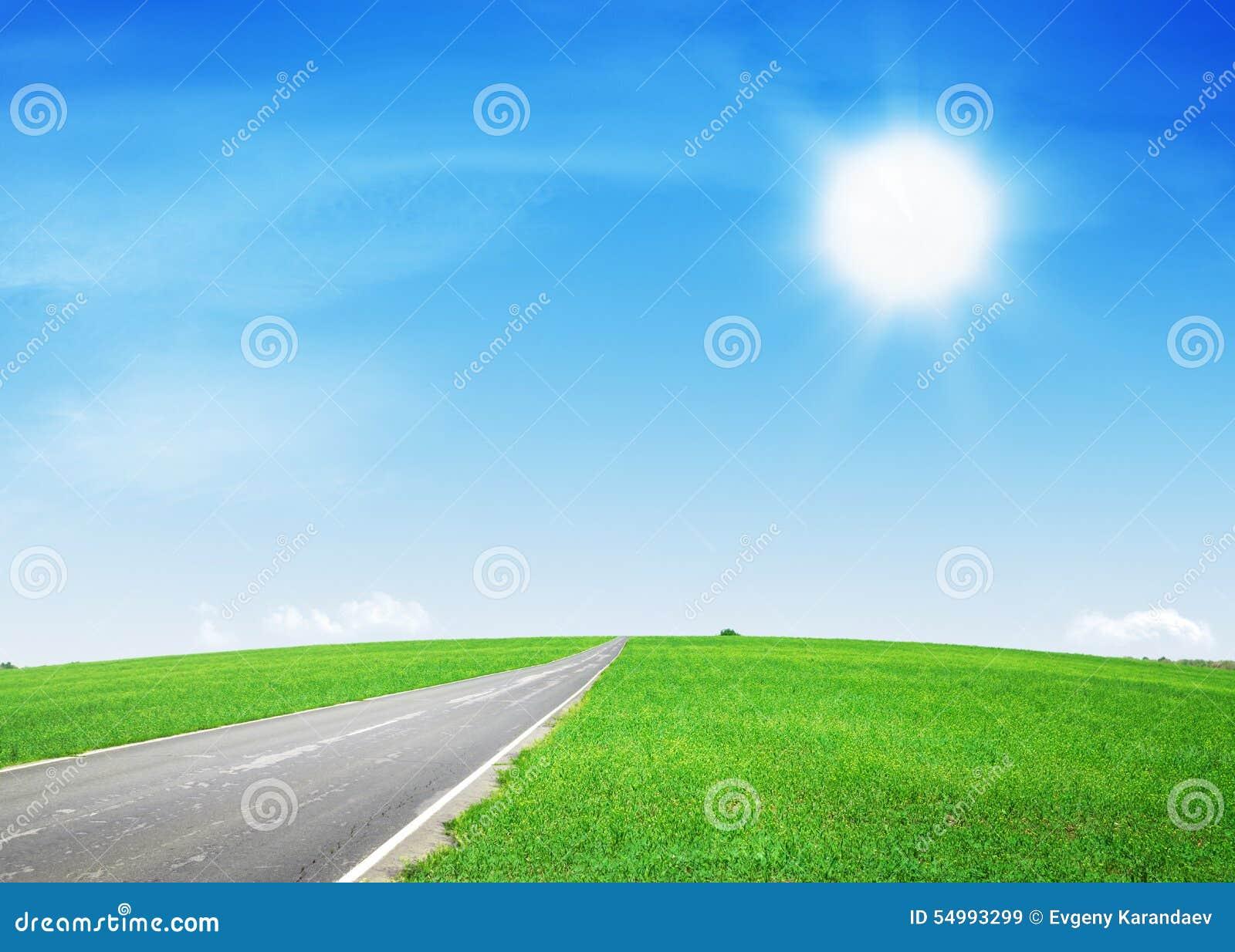Asfaltväg till och med det gröna fältet och den blåa himlen