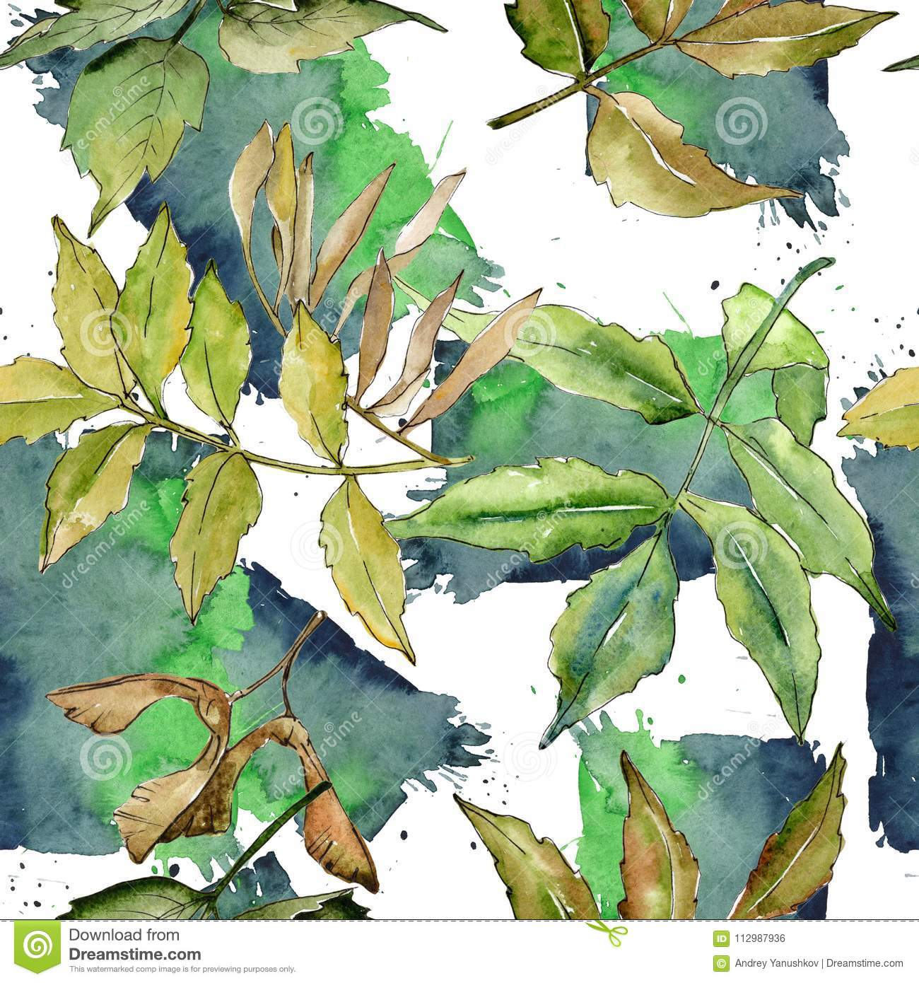 Ash leaves pattern in a watercolor style.