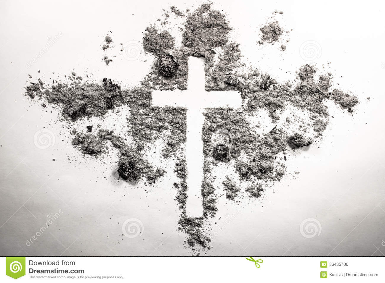 Ash wednesday cross ashes stock photos royalty free pictures buycottarizona Image collections