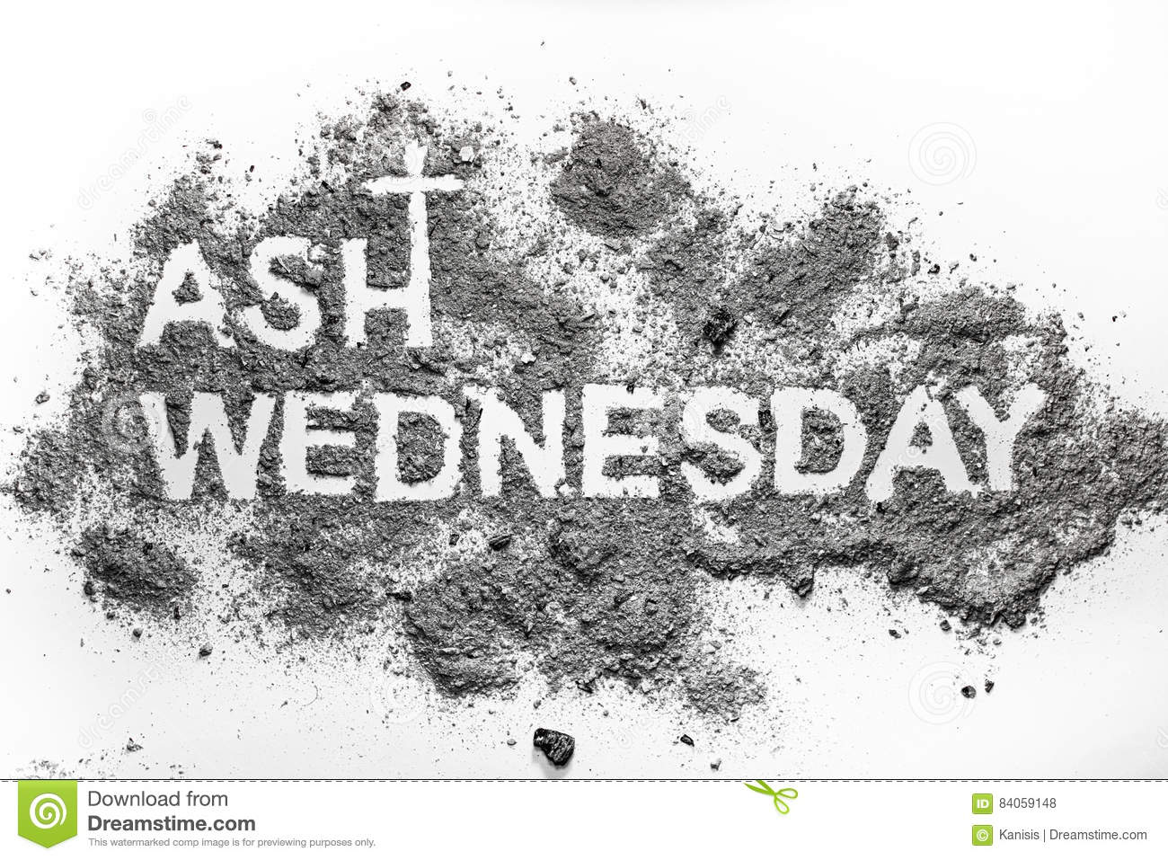 Ash wednesday word written in ash and christian cross symbol stock ash wednesday word written in ash and christian cross symbol buycottarizona Choice Image