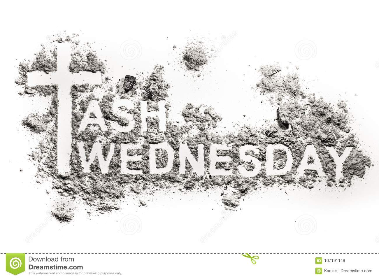 Ash wednesday word written in ash sand or dust stock image royalty free stock photo buycottarizona