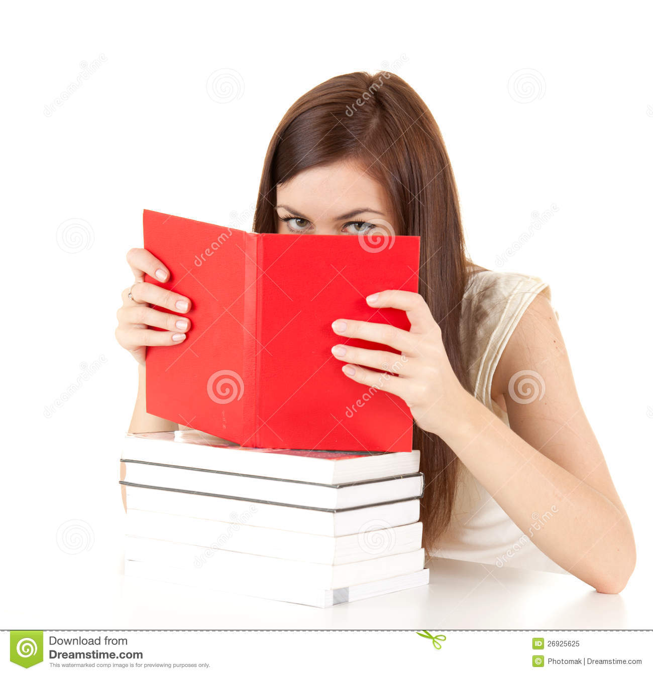 Book Covering Face : Ashamed student girl covering face book stock image