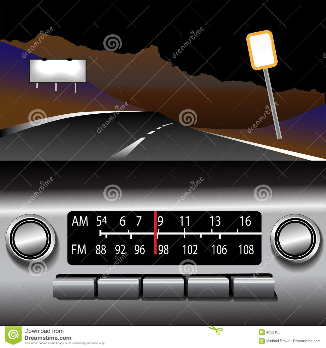 Ashboard Radio AM FM Highway Drive Background Stock Vector