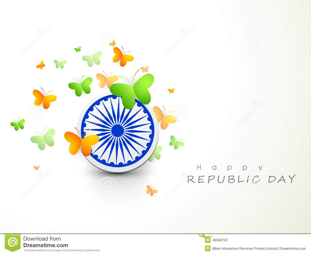 Indian Flag Butterflies: Ashoka Wheel With Butterflies For Indian Republic Day