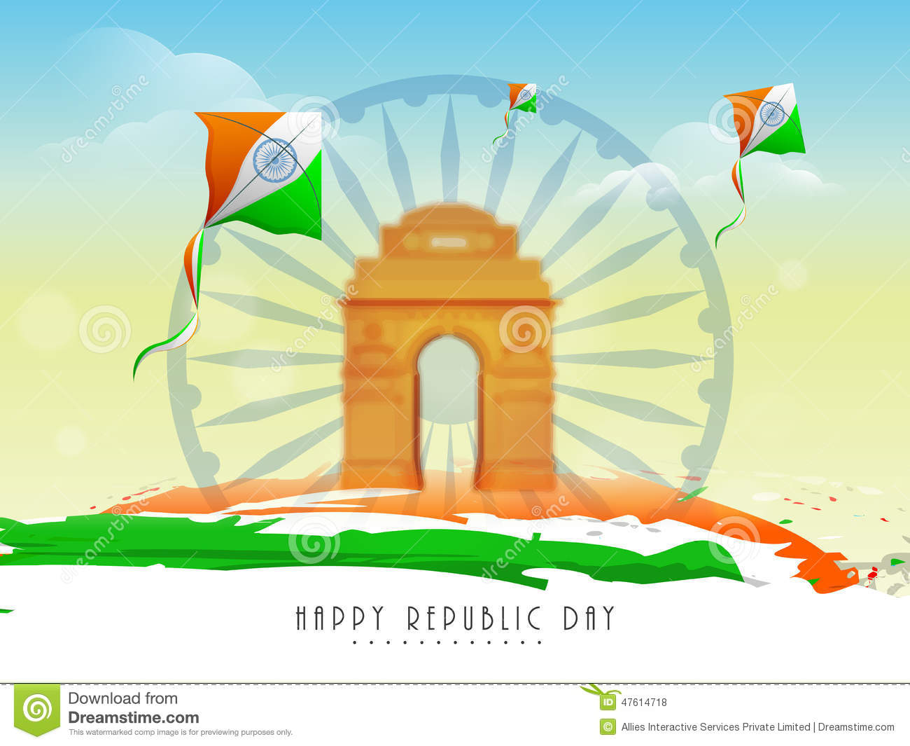 Indian Flag With Different Views: Ashoka Wheel, India Gate And Kites For Indian Republic Day