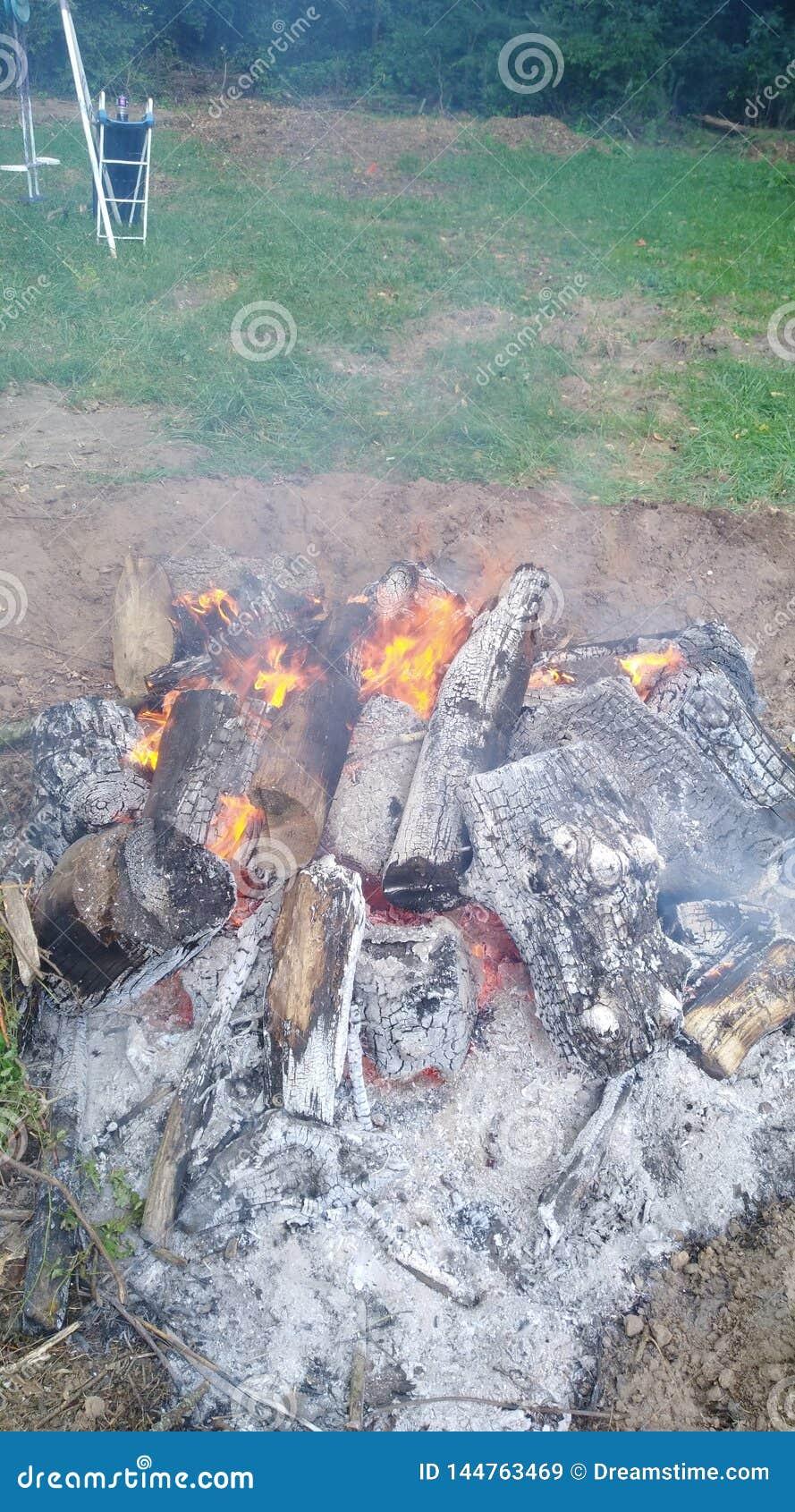 Ashy Log Fire Pit