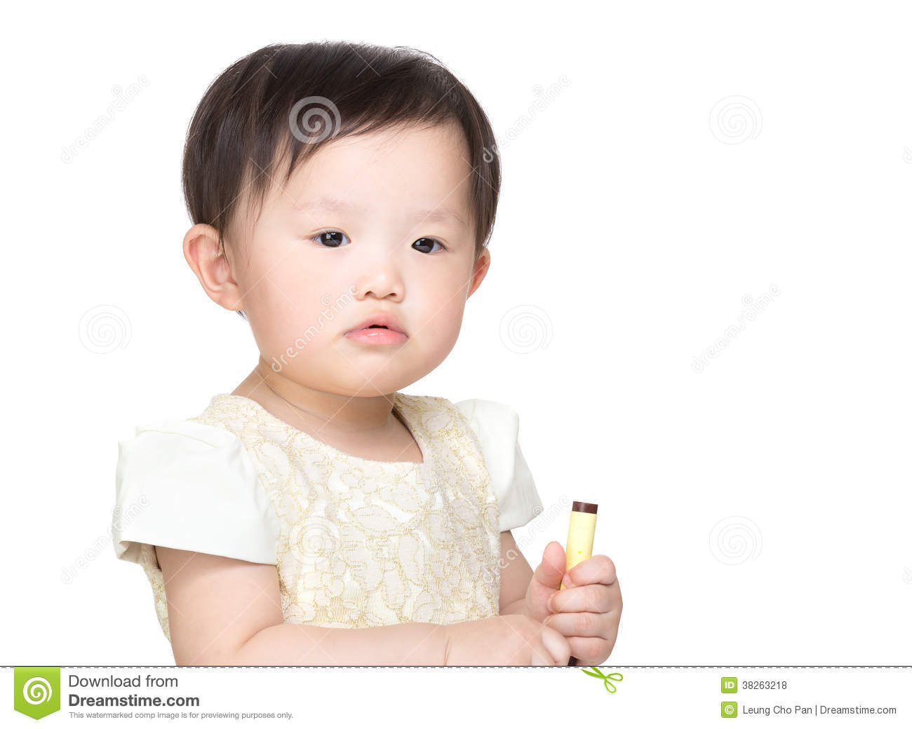 Asia baby girl holding color pen
