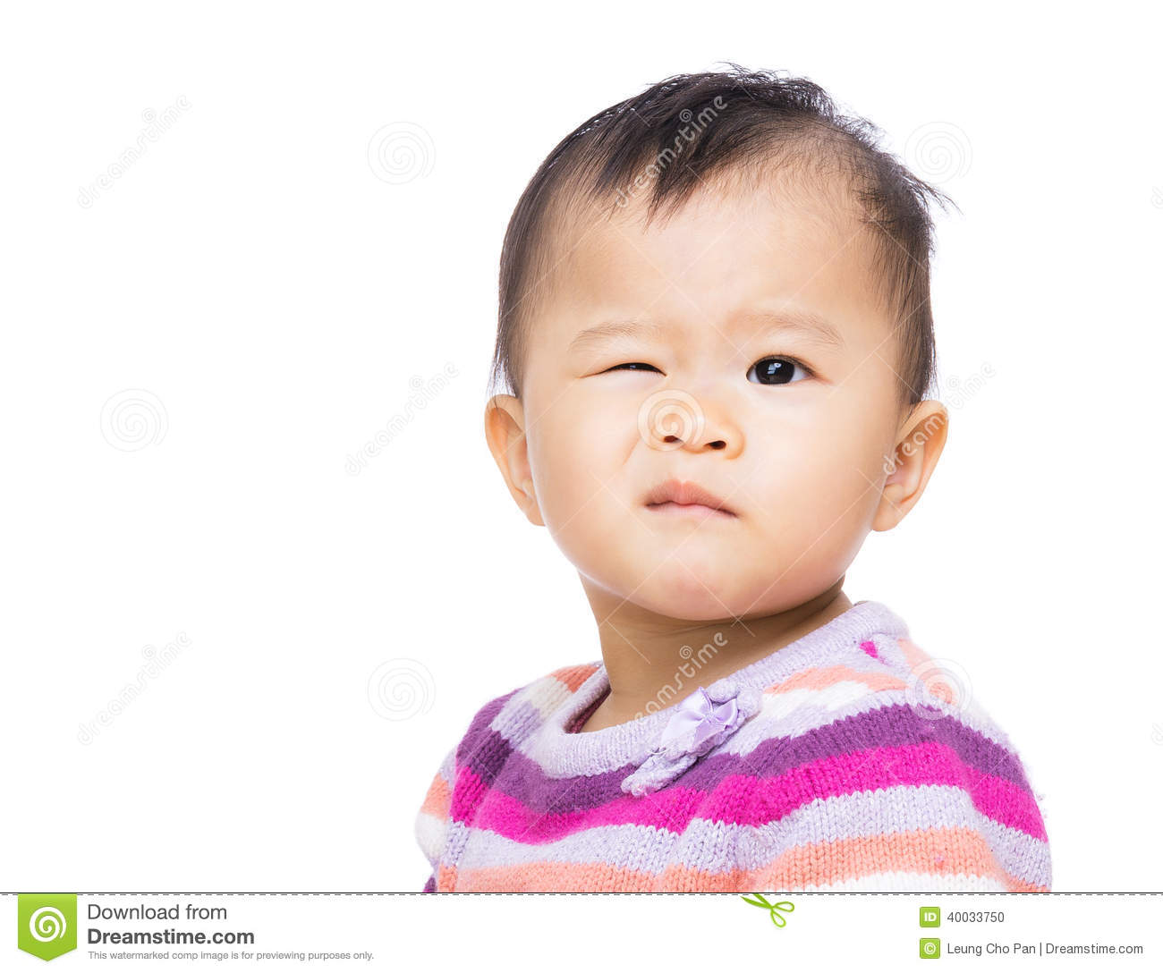 Asia Baby Girl With One Winking Eye Stock Photo - Image of ...