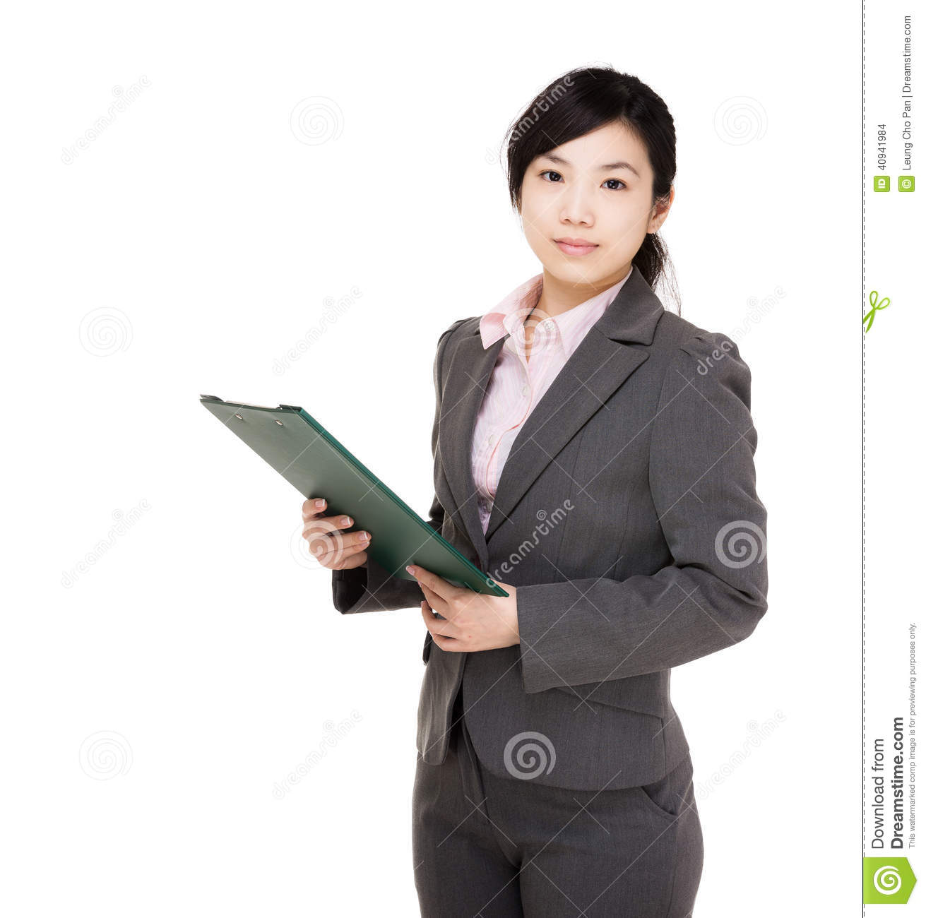 Asia businesswoman with filepad