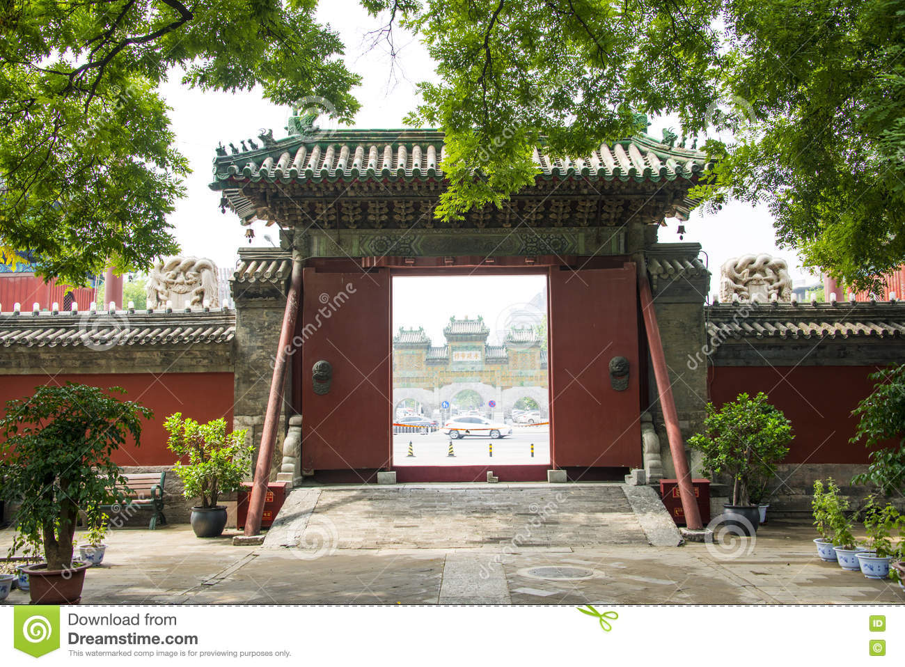 Asia China Beijing Dongyue Temple Landscape Architecture Door - Temple landscape architecture