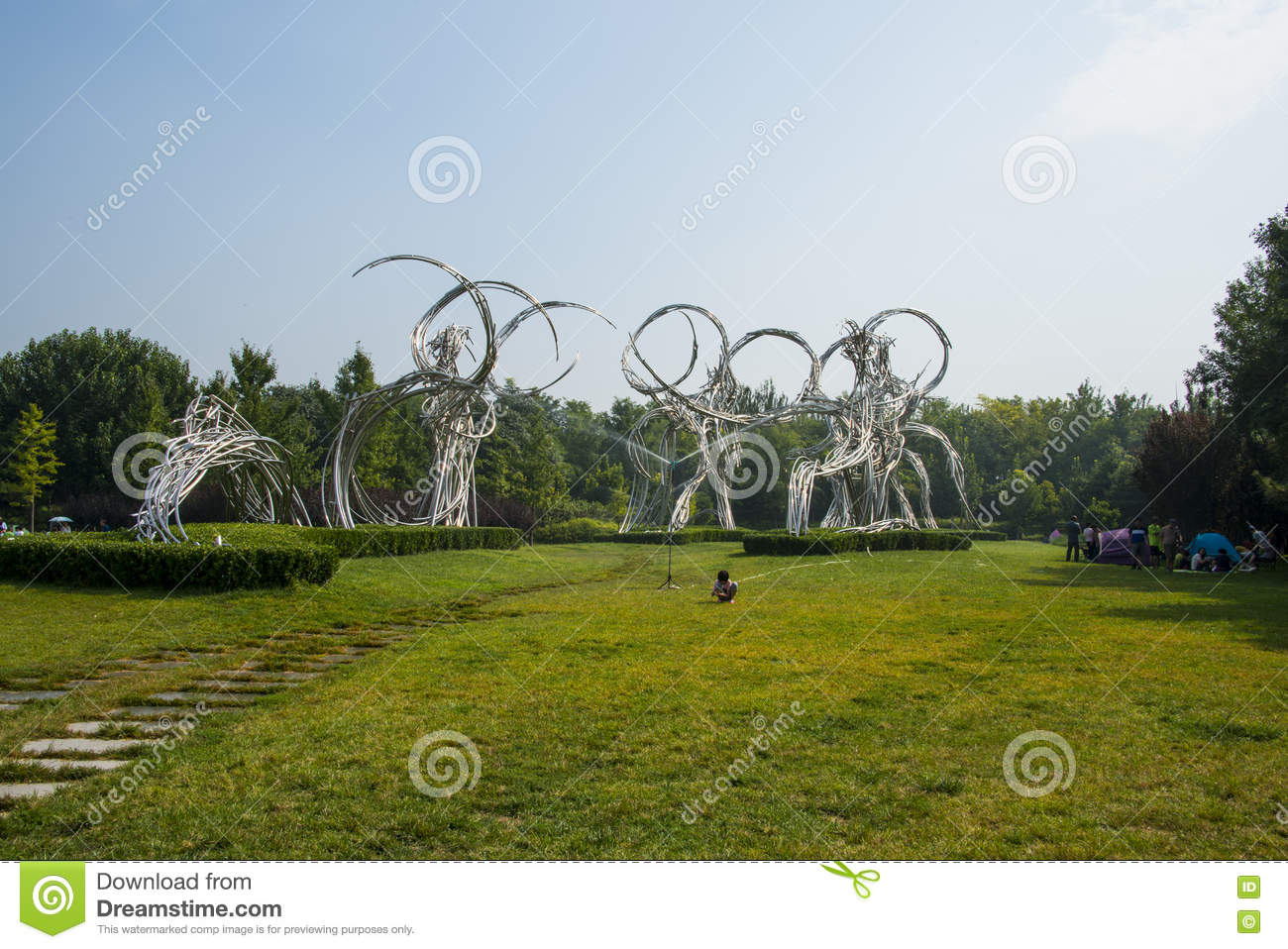 Asia China, Beijing, Olympic Forest Park, Landscape sculpture, road of athletes